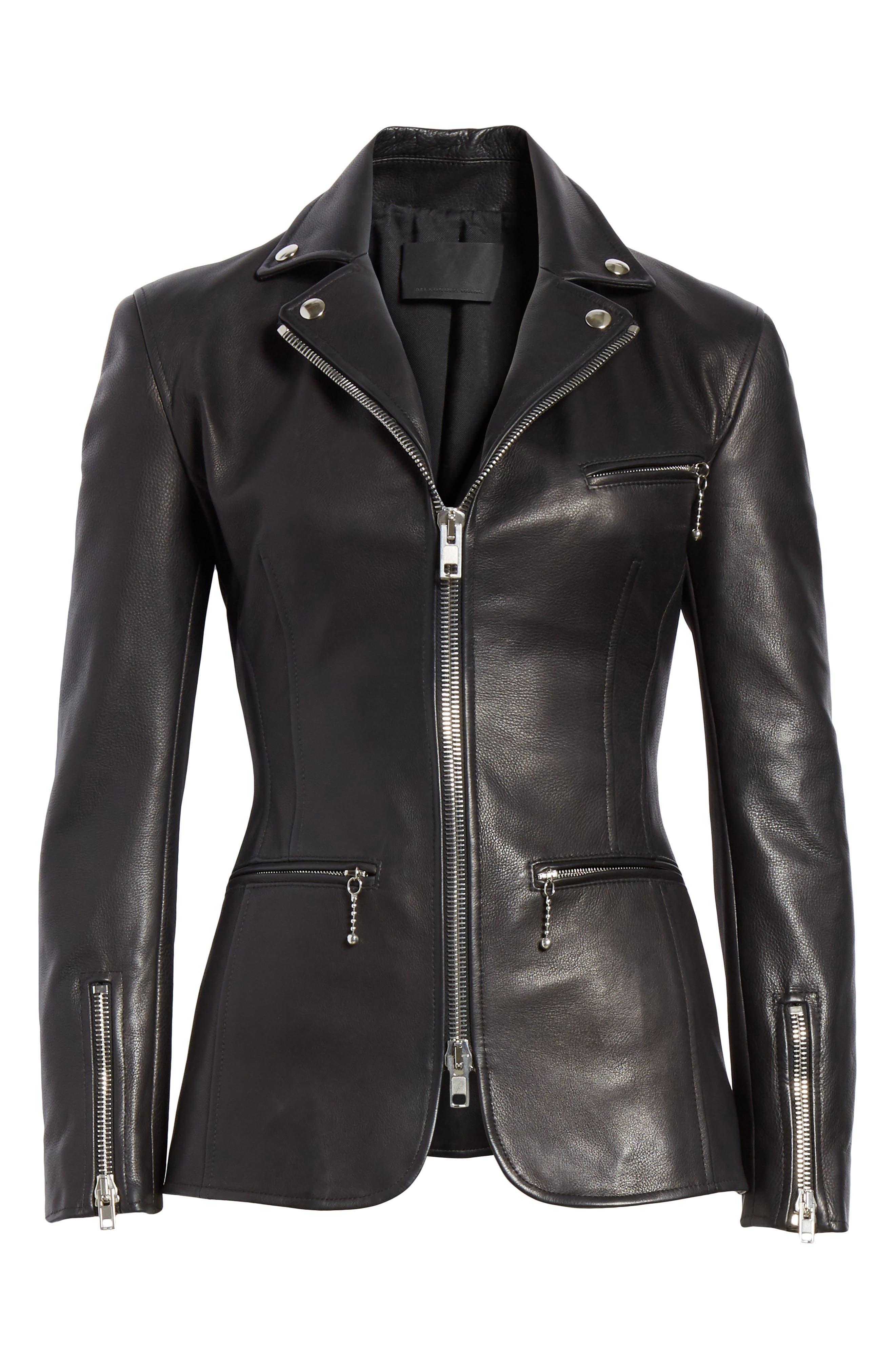 Zip Front Leather Blazer,                             Alternate thumbnail 6, color,                             BLACK
