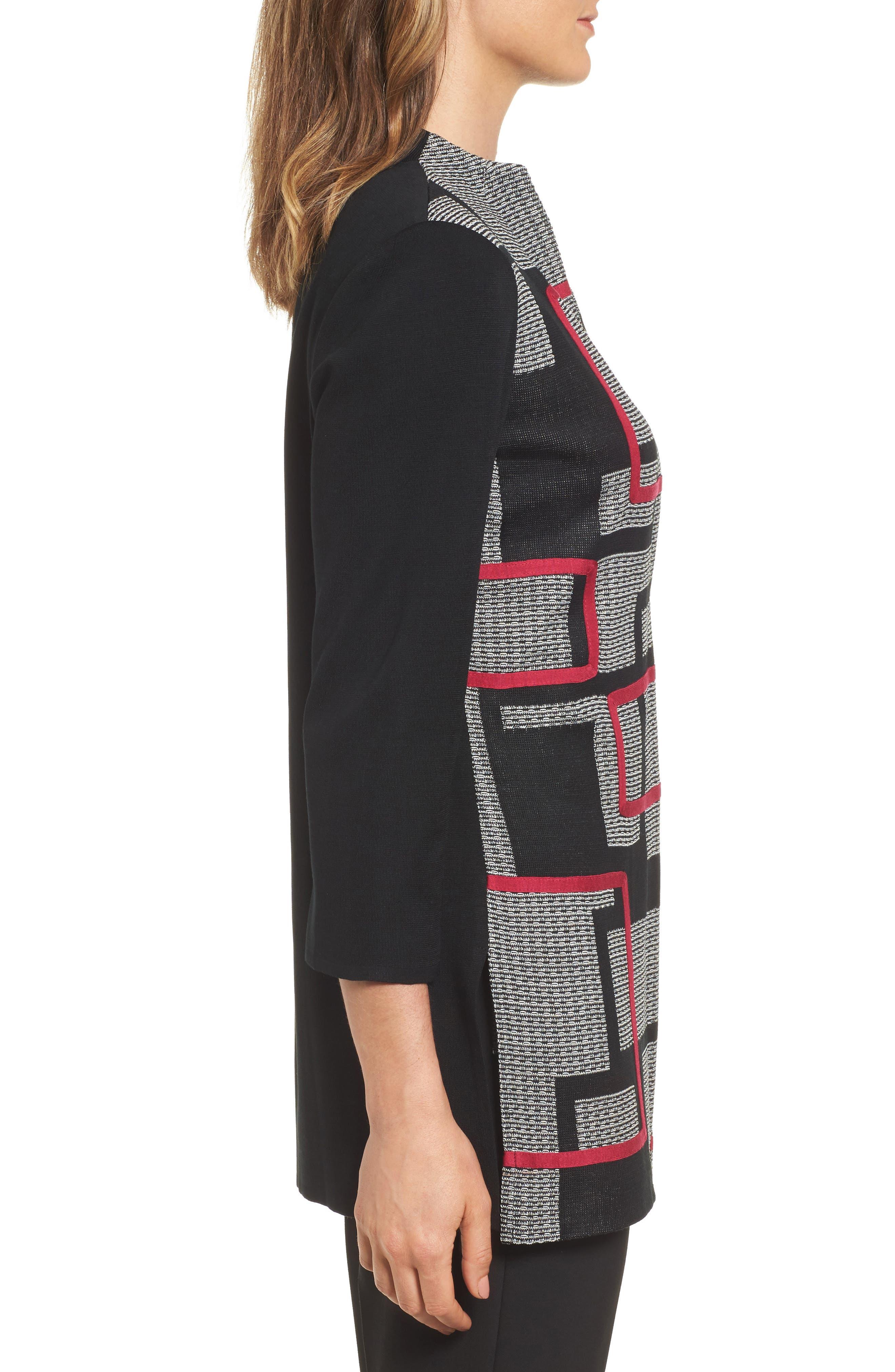 Textured Knit Long Jacket,                             Alternate thumbnail 3, color,