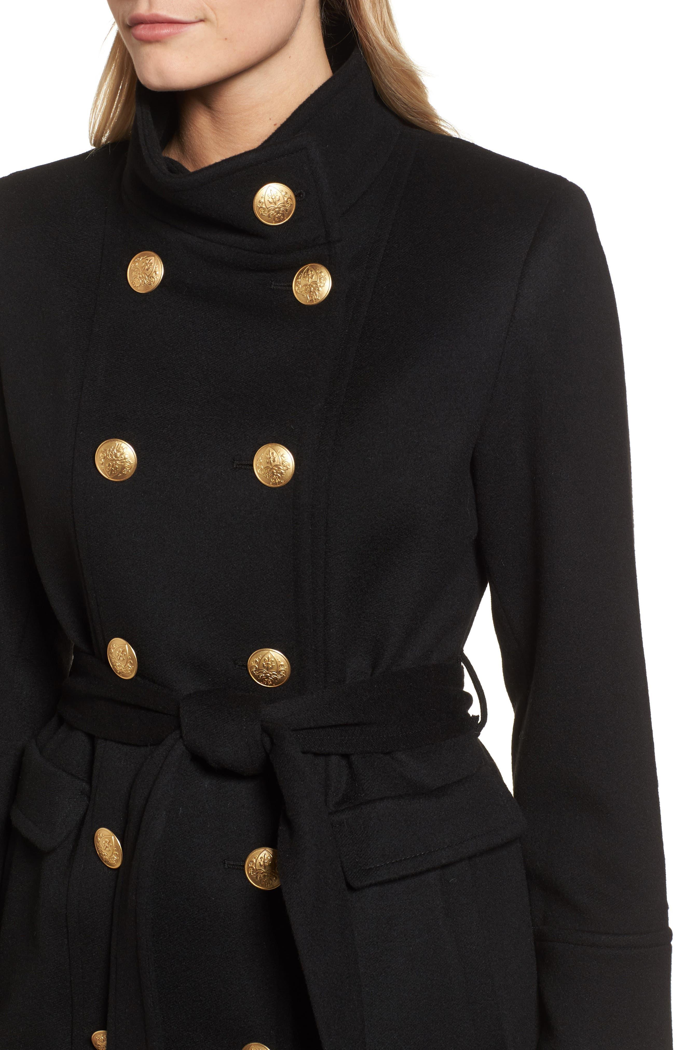 Wool & Cashmere Blend Military Coat,                             Alternate thumbnail 4, color,                             001