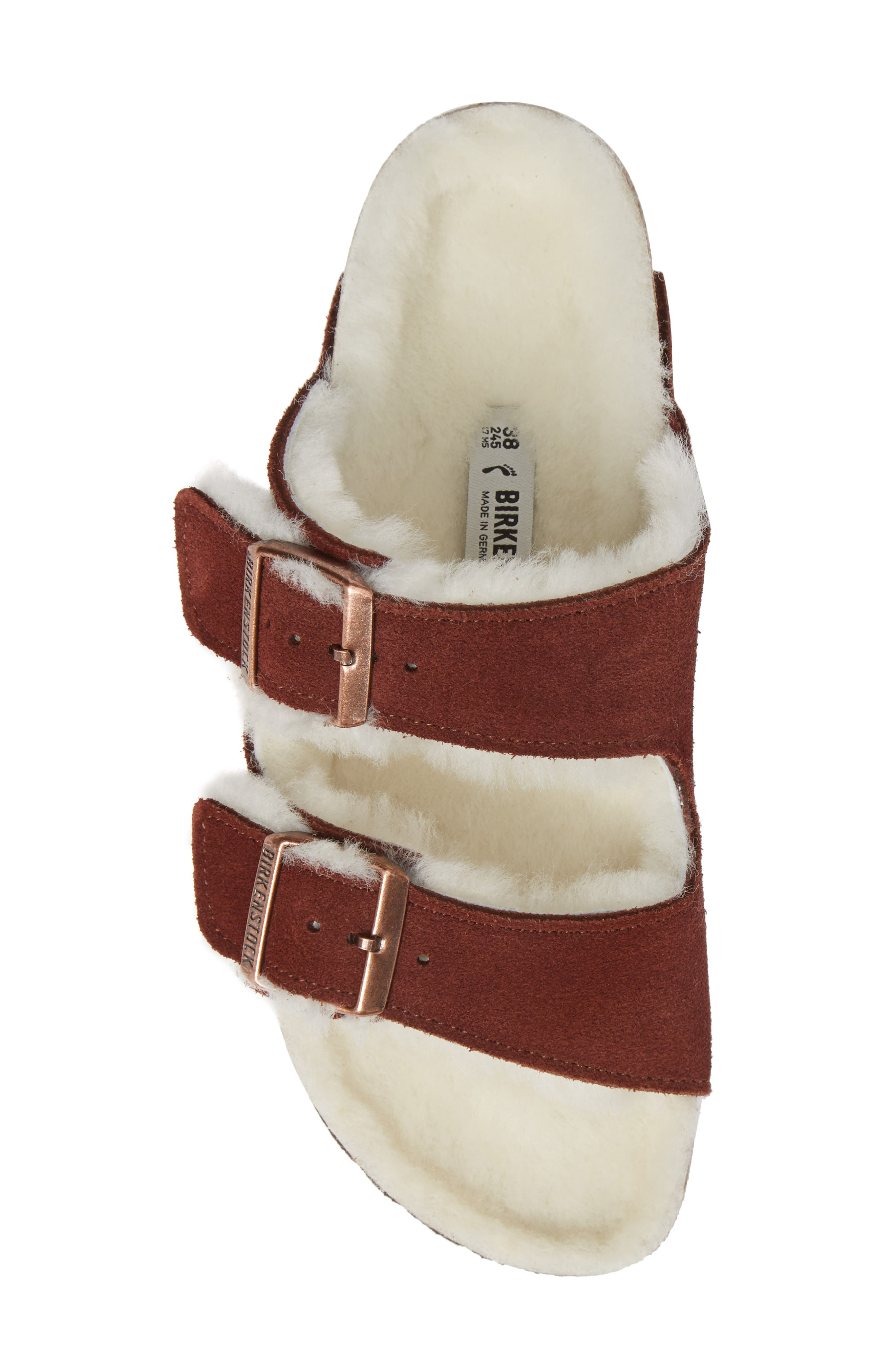 'Arizona' Genuine Shearling Lined Sandal,                             Alternate thumbnail 5, color,                             PORT SUEDE