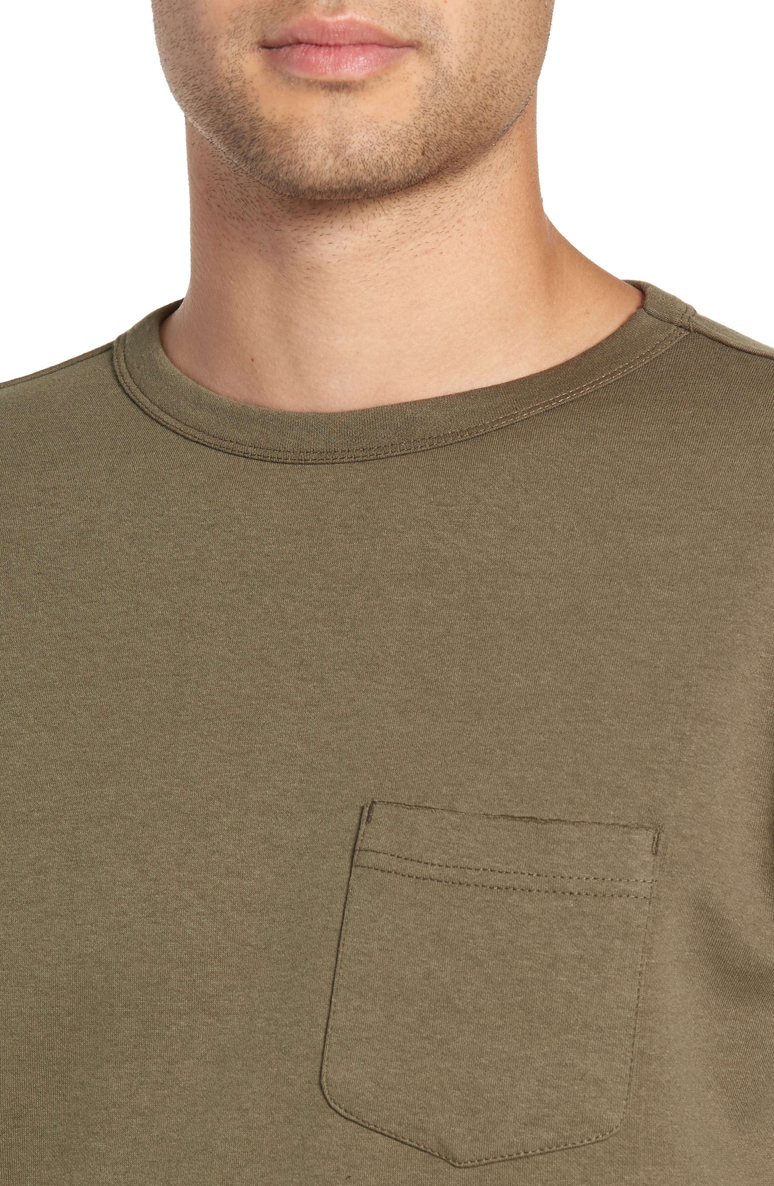 Trim Fit Long Sleeve Pocket T-Shirt,                             Alternate thumbnail 4, color,                             OLIVE