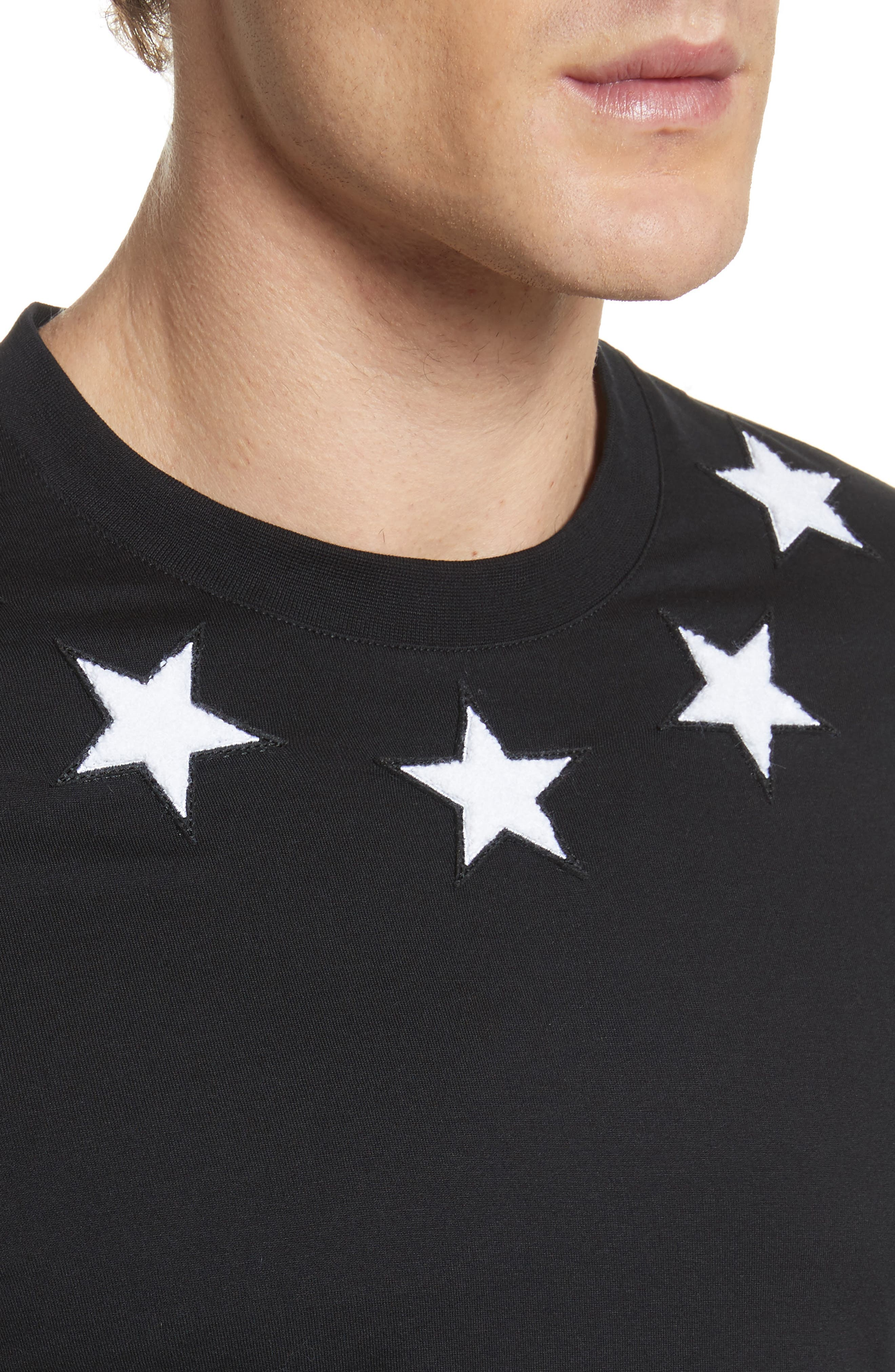 Star Appliqué T-Shirt,                             Alternate thumbnail 4, color,                             001