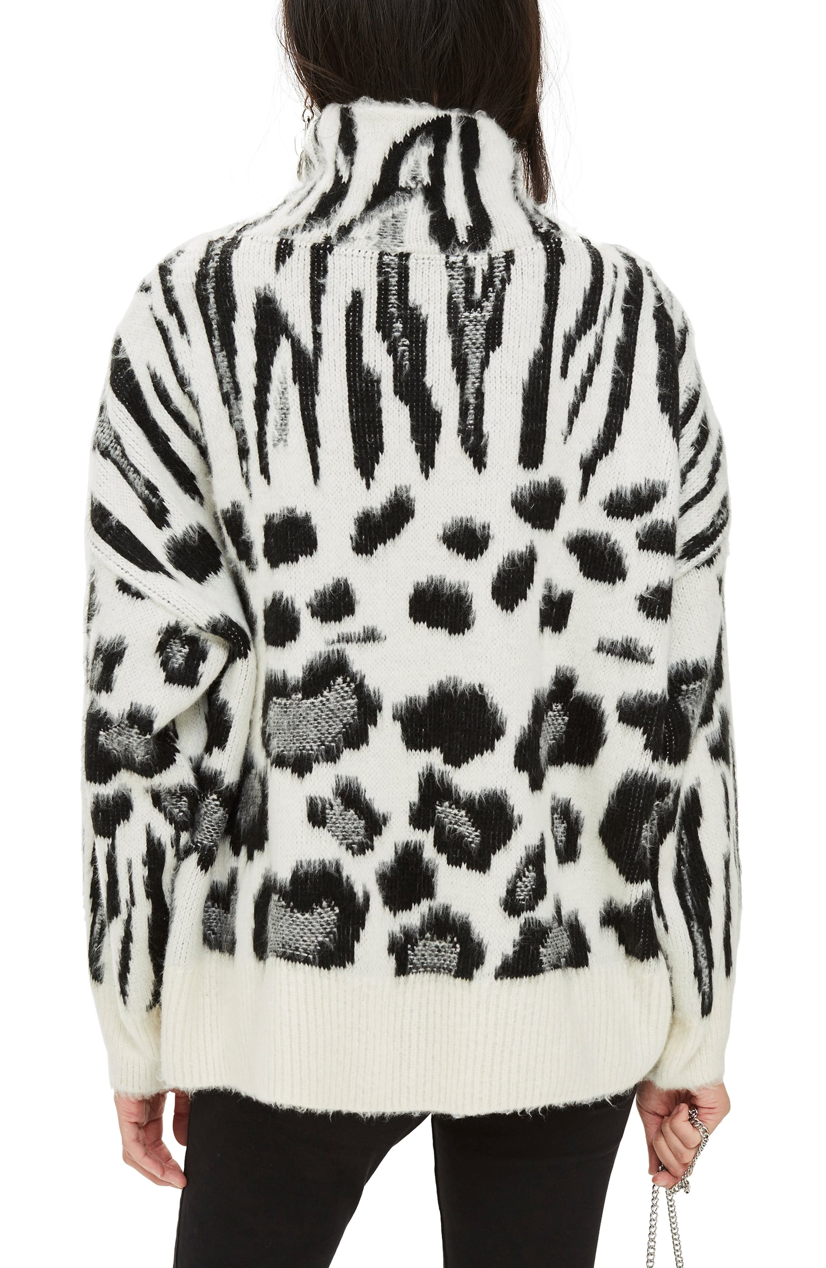 Zebra Mix Turtleneck Sweater,                             Alternate thumbnail 2, color,                             BLACK MULTI