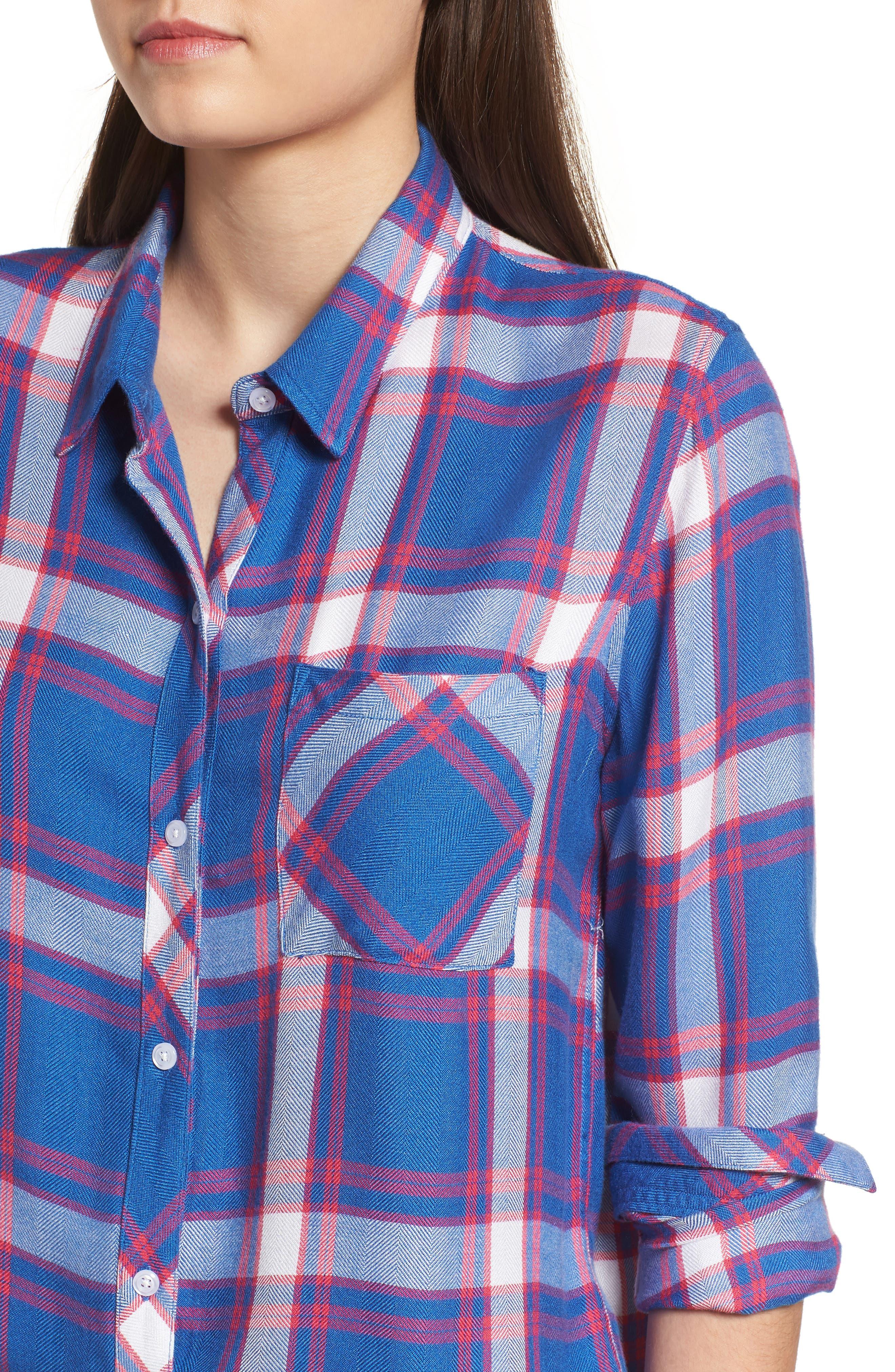 Hunter Plaid Shirt,                             Alternate thumbnail 4, color,                             RUBY SKY WHITE