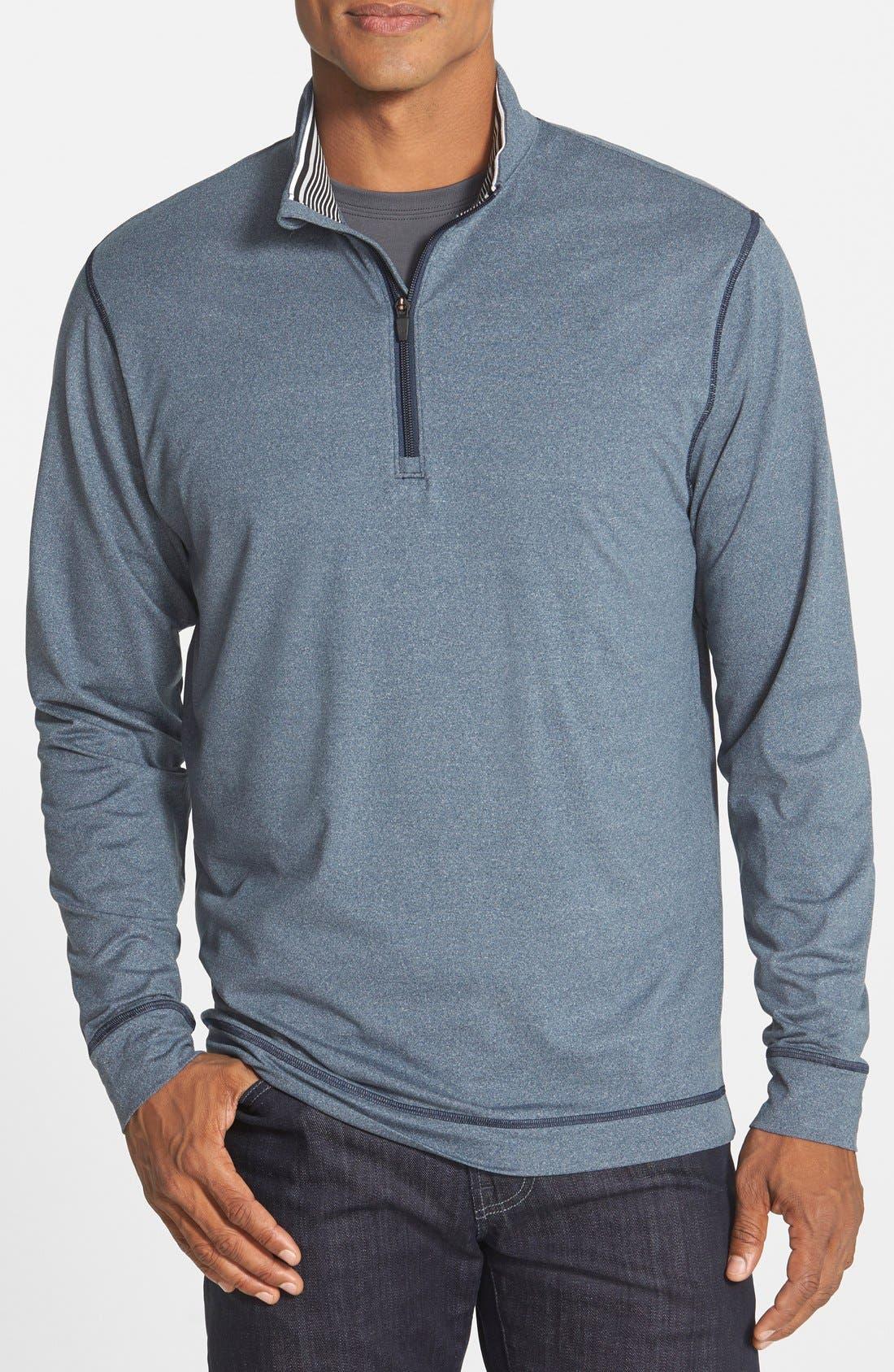 CUTTER & BUCK 'Topspin' DryTec Half Zip Pullover, Main, color, NAVY HEATHER