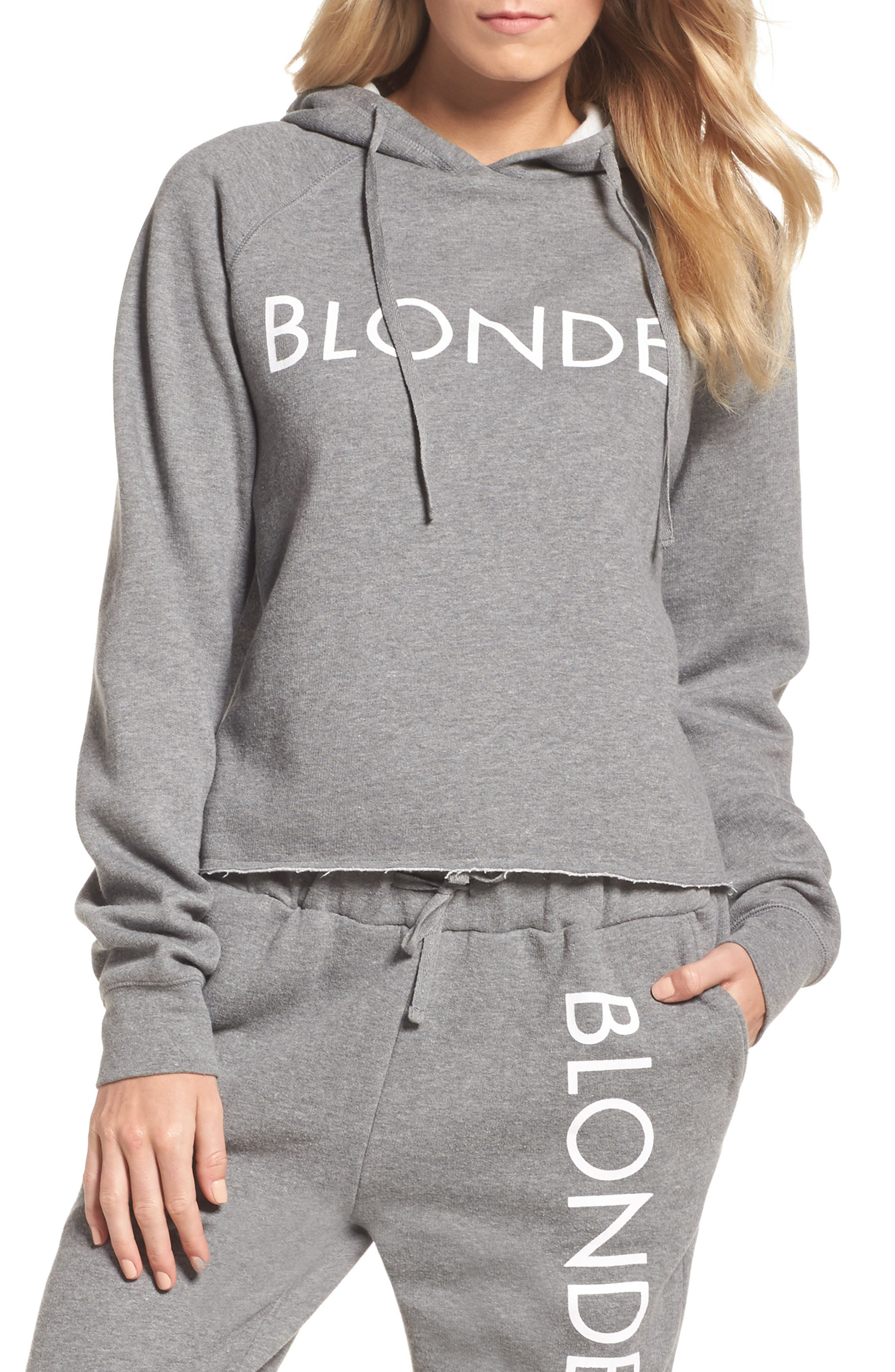 Blonde Raw Hem Hoodie,                         Main,                         color, HEATHER GREY WHITE
