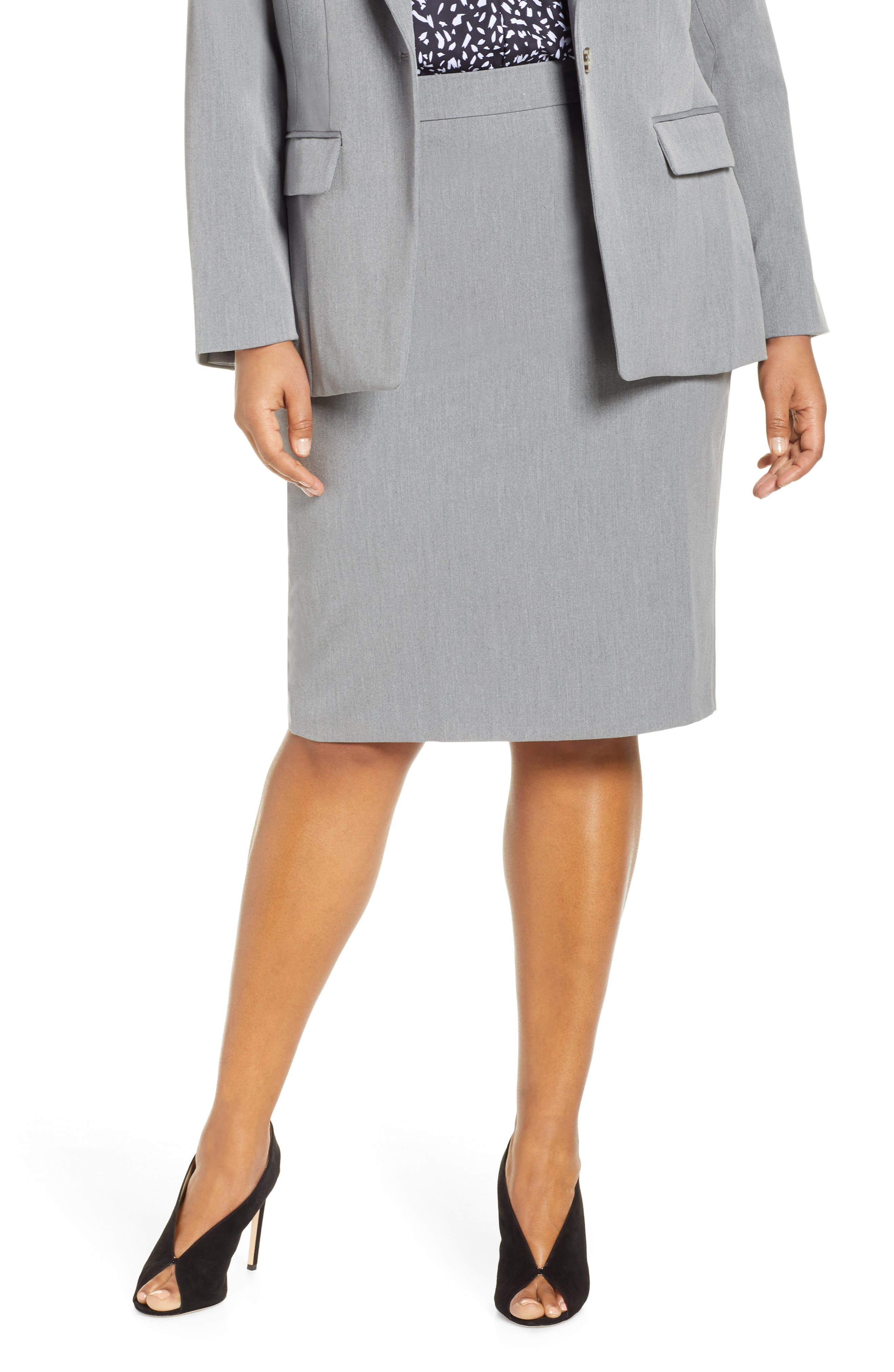 Plus Size Eloquii Stretch Pencil Skirt, Grey