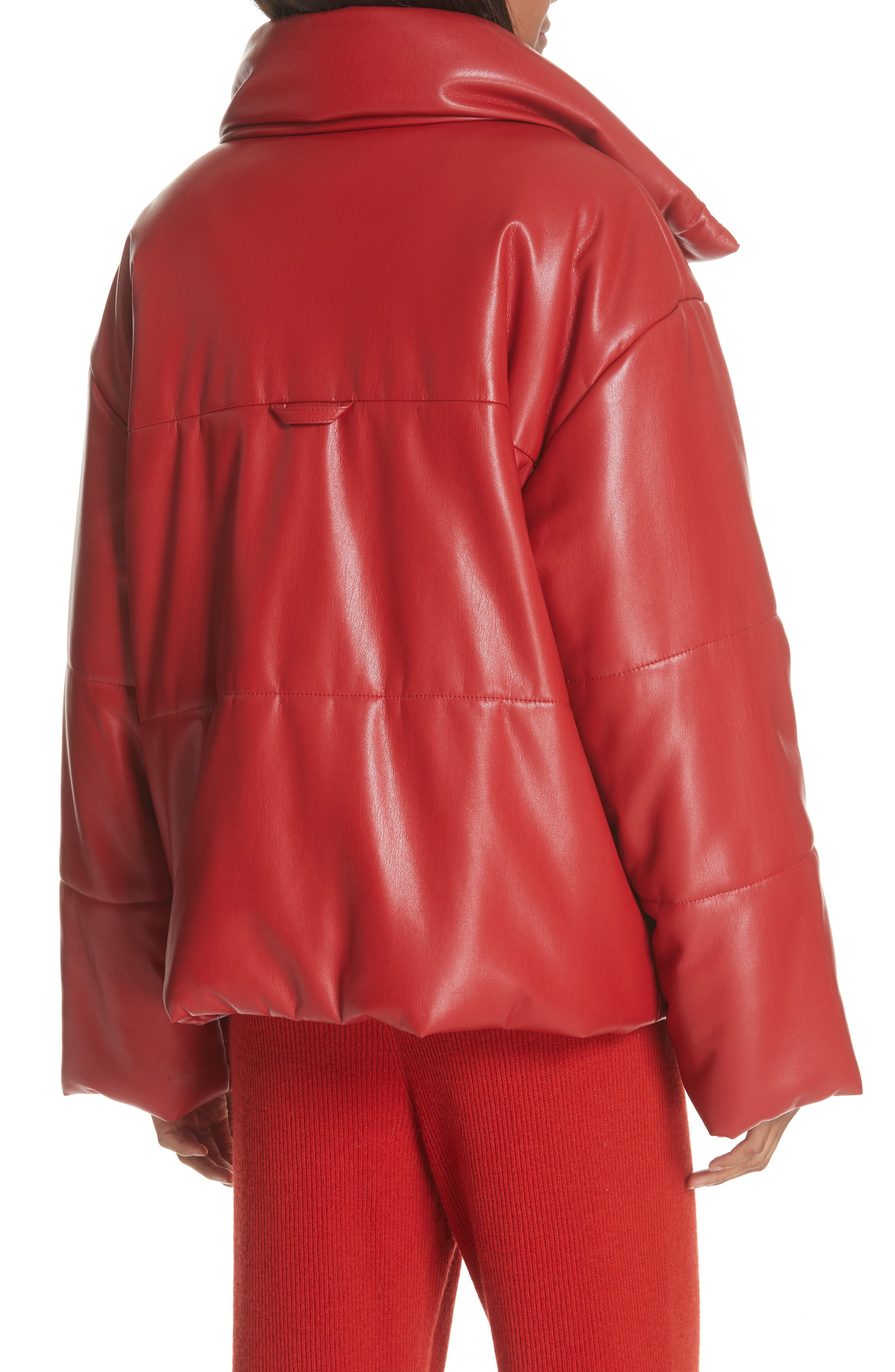 Hide Faux Leather Puffer Jacket,                             Alternate thumbnail 2, color,                             RED
