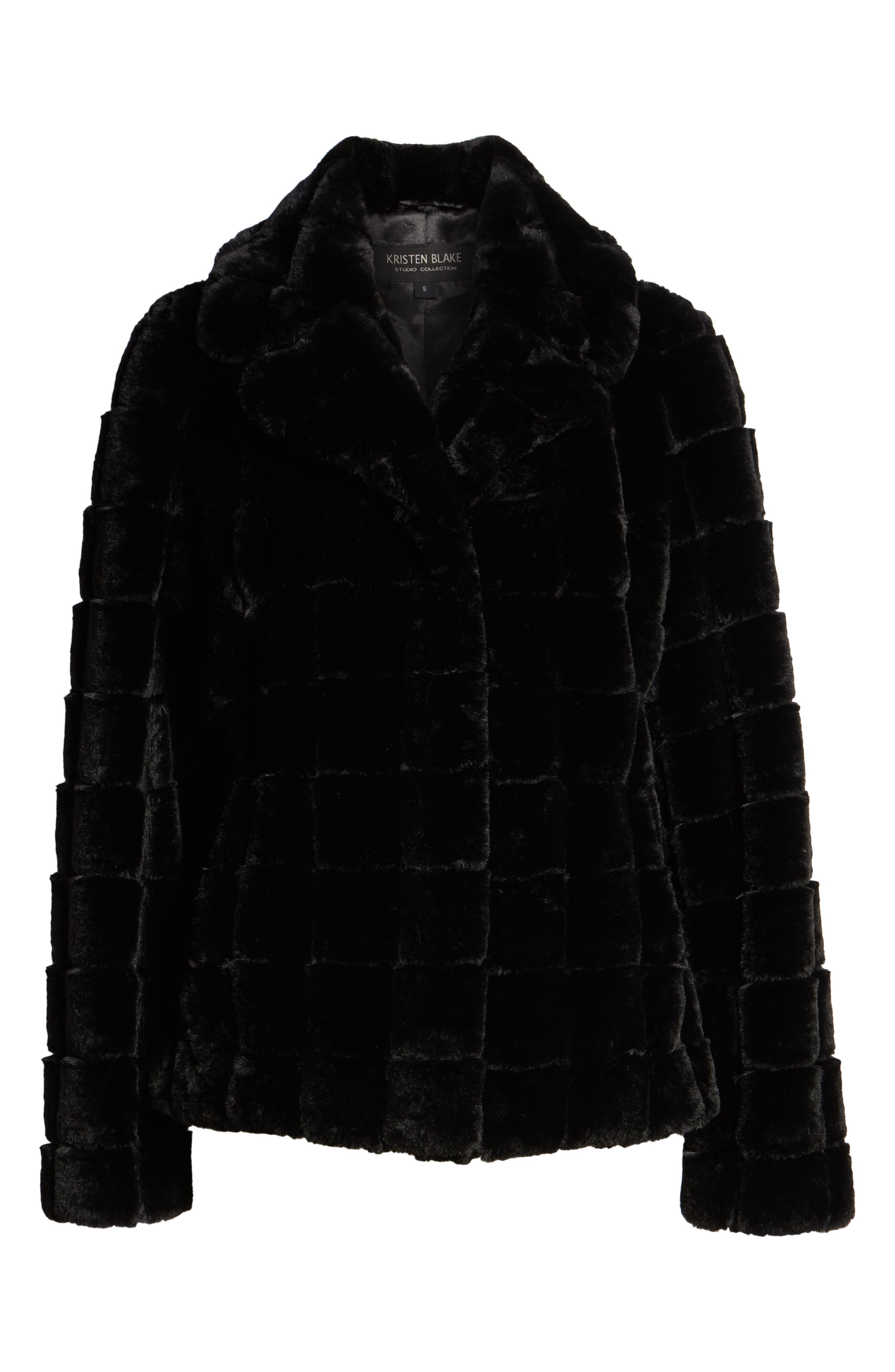 Quilted Faux Fur Jacket,                             Alternate thumbnail 6, color,                             001