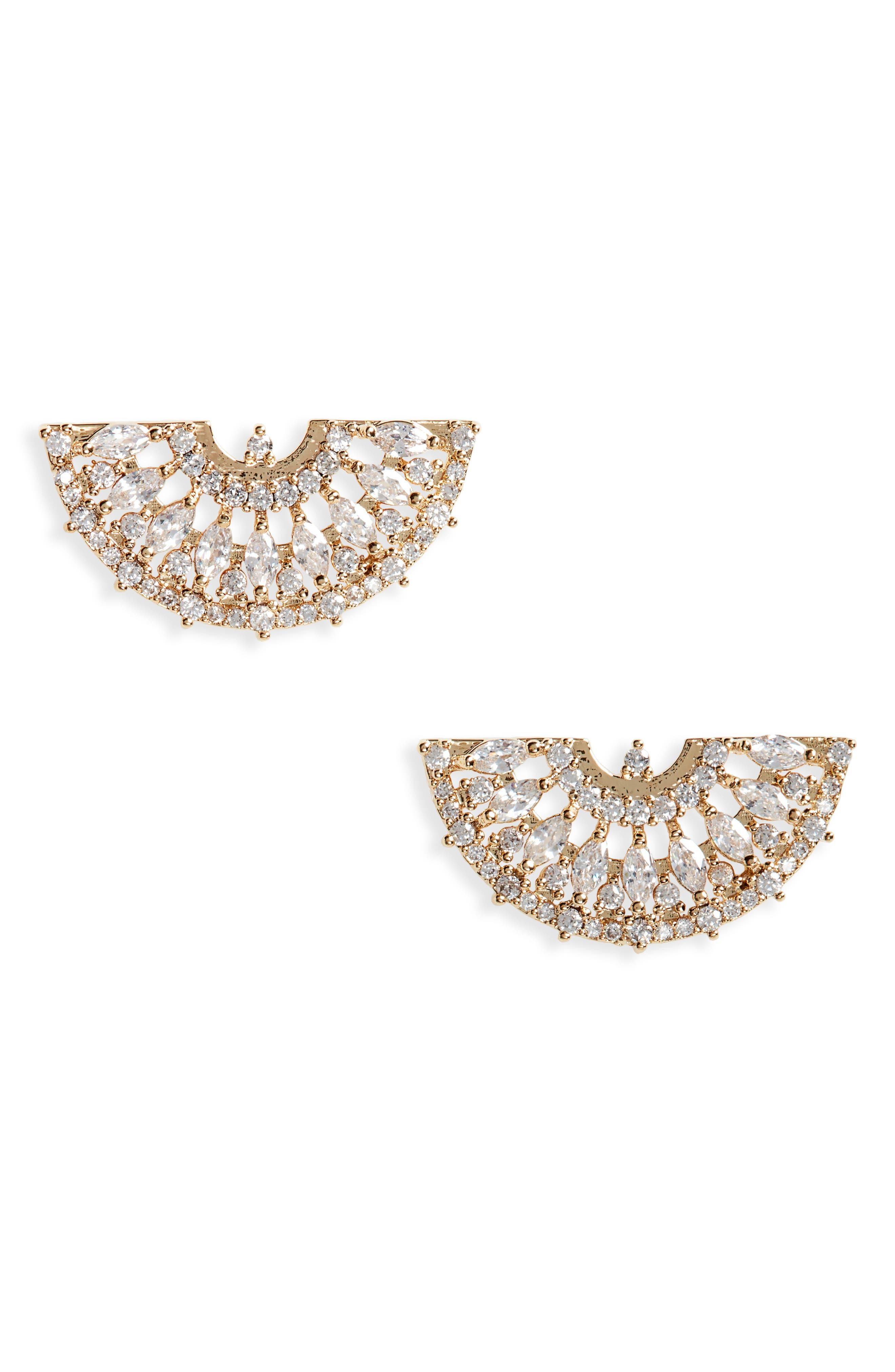Sparkle Half Moon Earrings,                             Main thumbnail 1, color,                             710