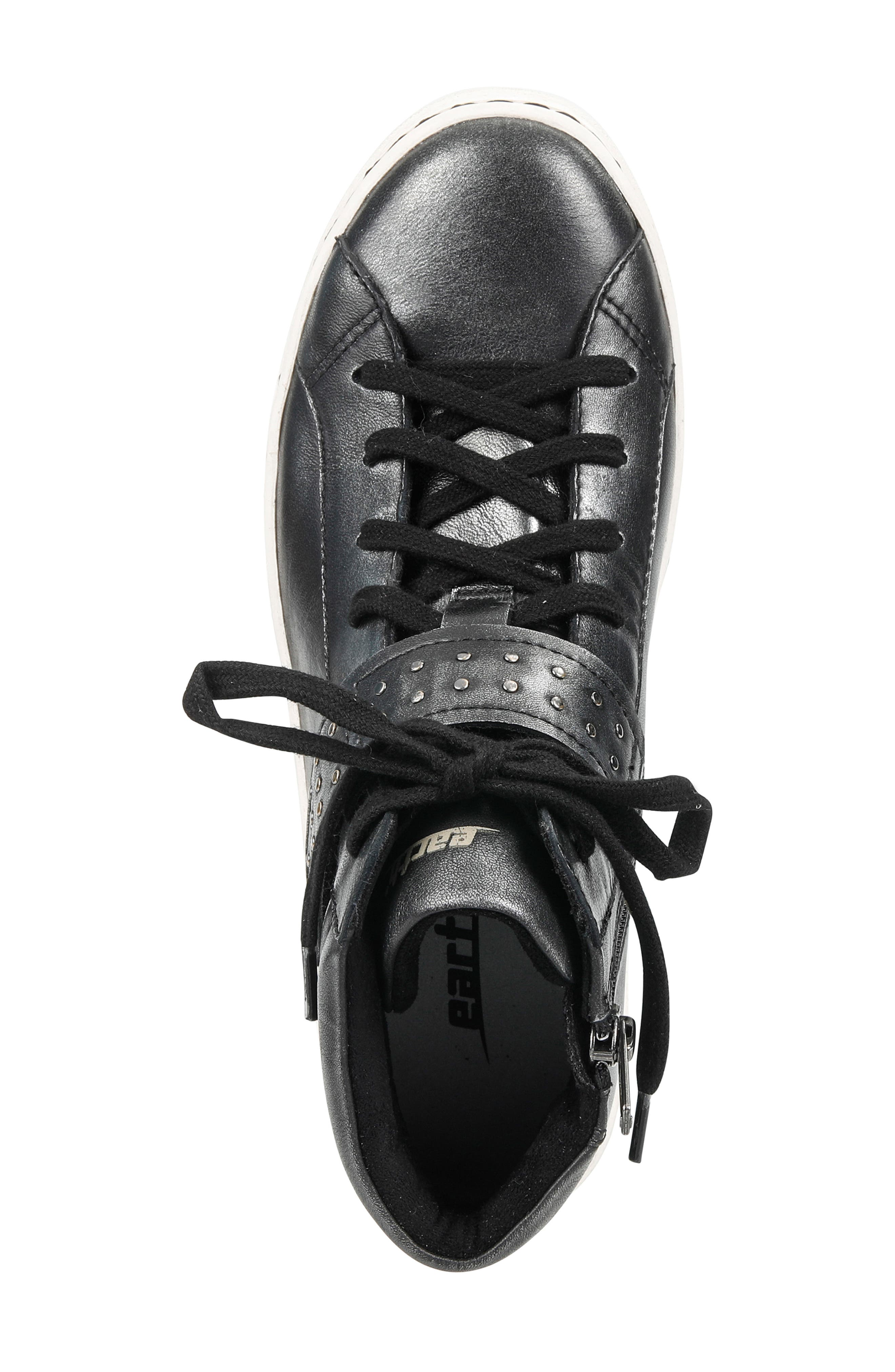 Zeal High Top Sneaker,                             Alternate thumbnail 5, color,                             BLACK METALLIC LEATHER