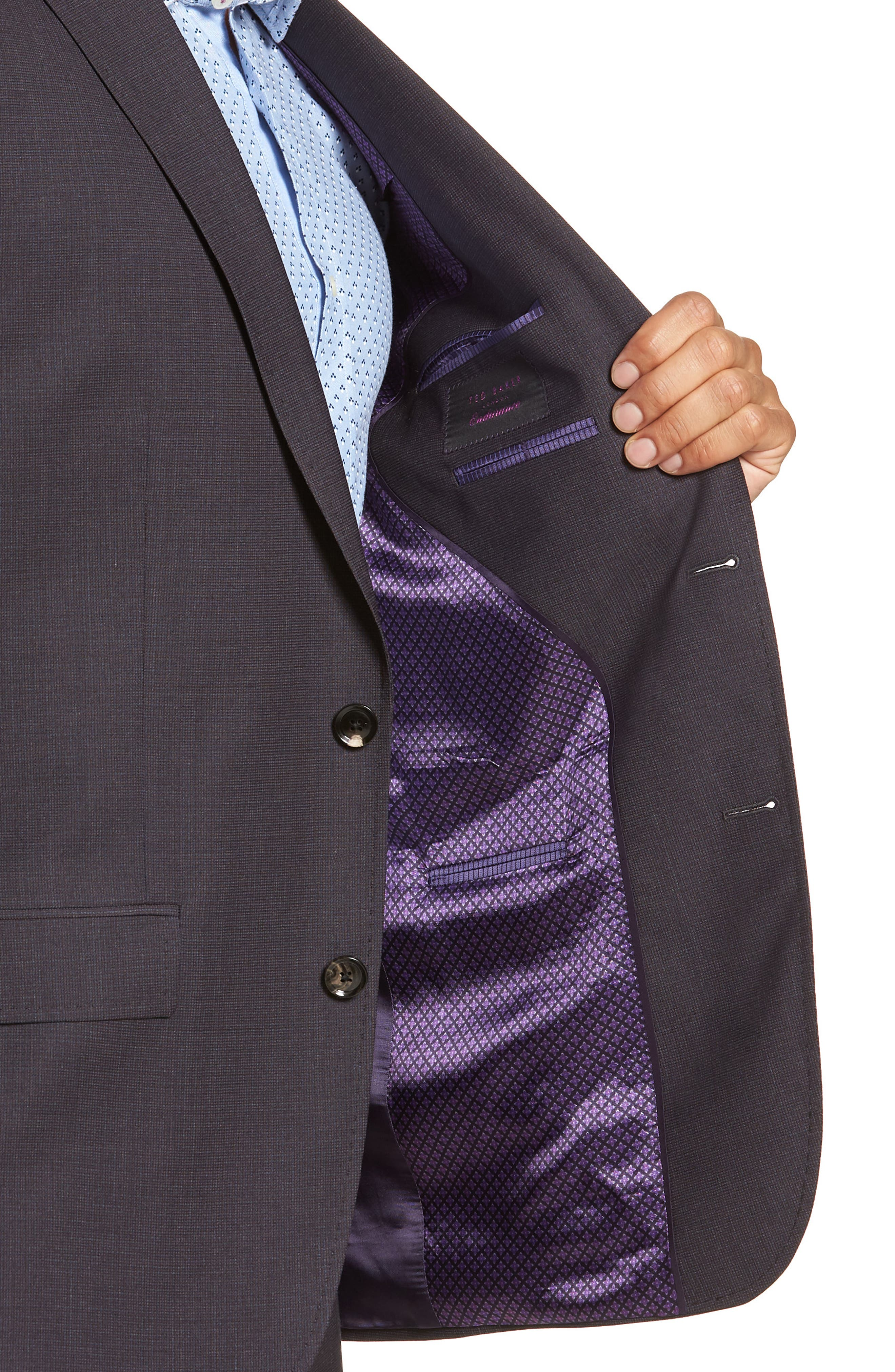 Jay Trim Fit Solid Wool Suit,                             Alternate thumbnail 4, color,                             BROWN MULTI