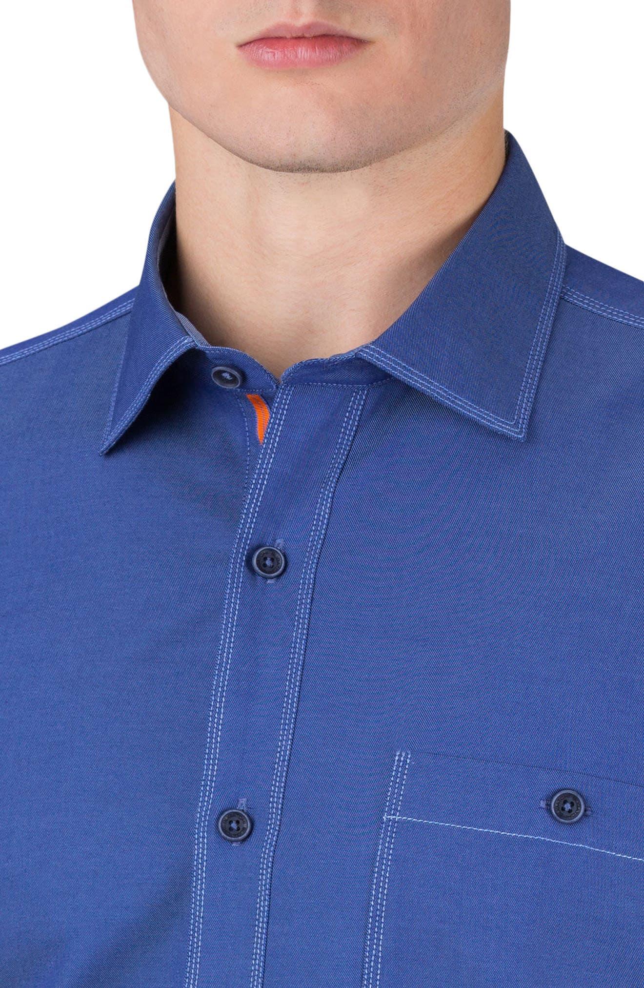 Classic Fit Topstitch Outline Sport Shirt,                             Alternate thumbnail 3, color,