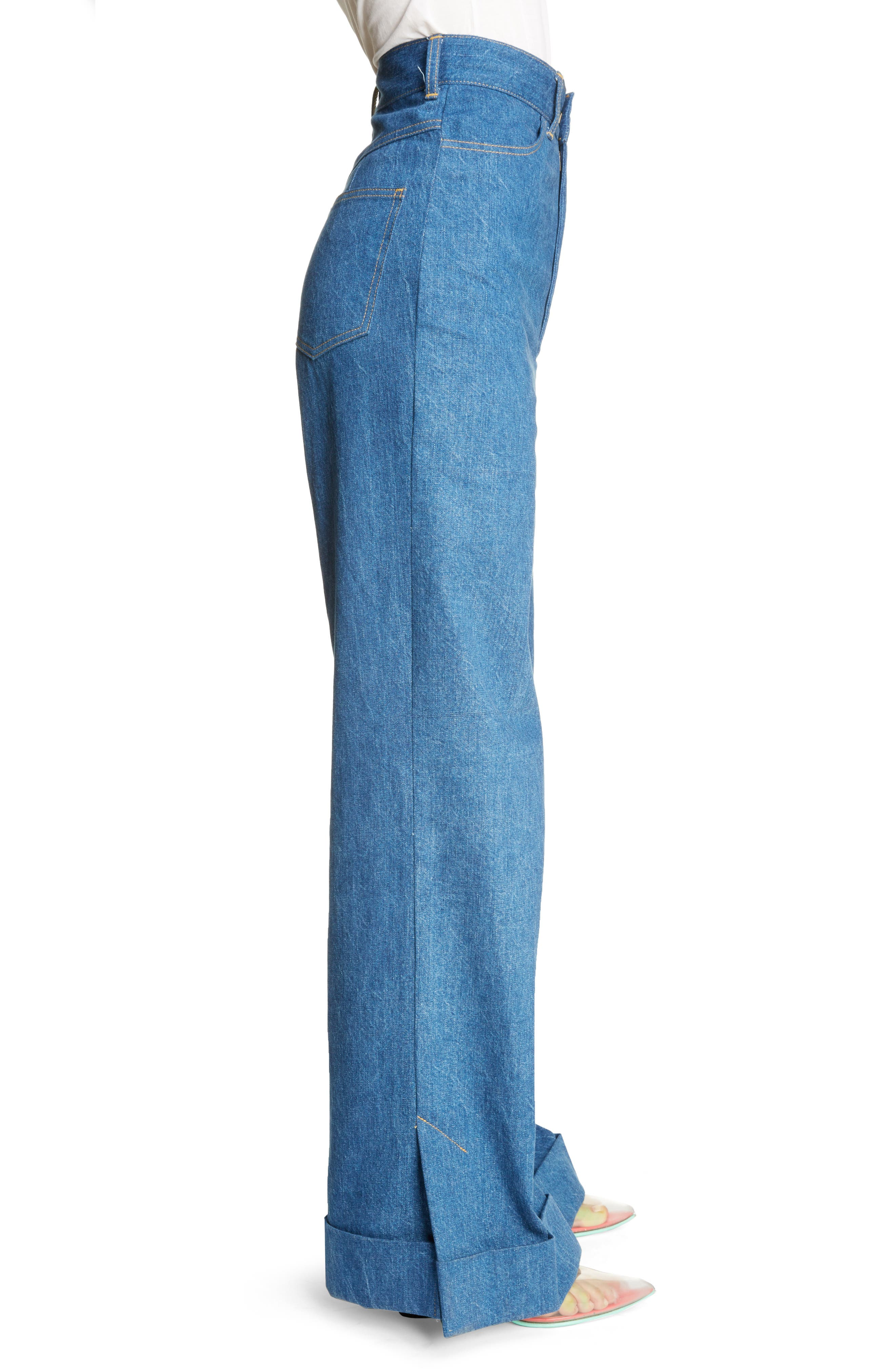 Cuffed Wide Leg Jeans,                             Alternate thumbnail 3, color,