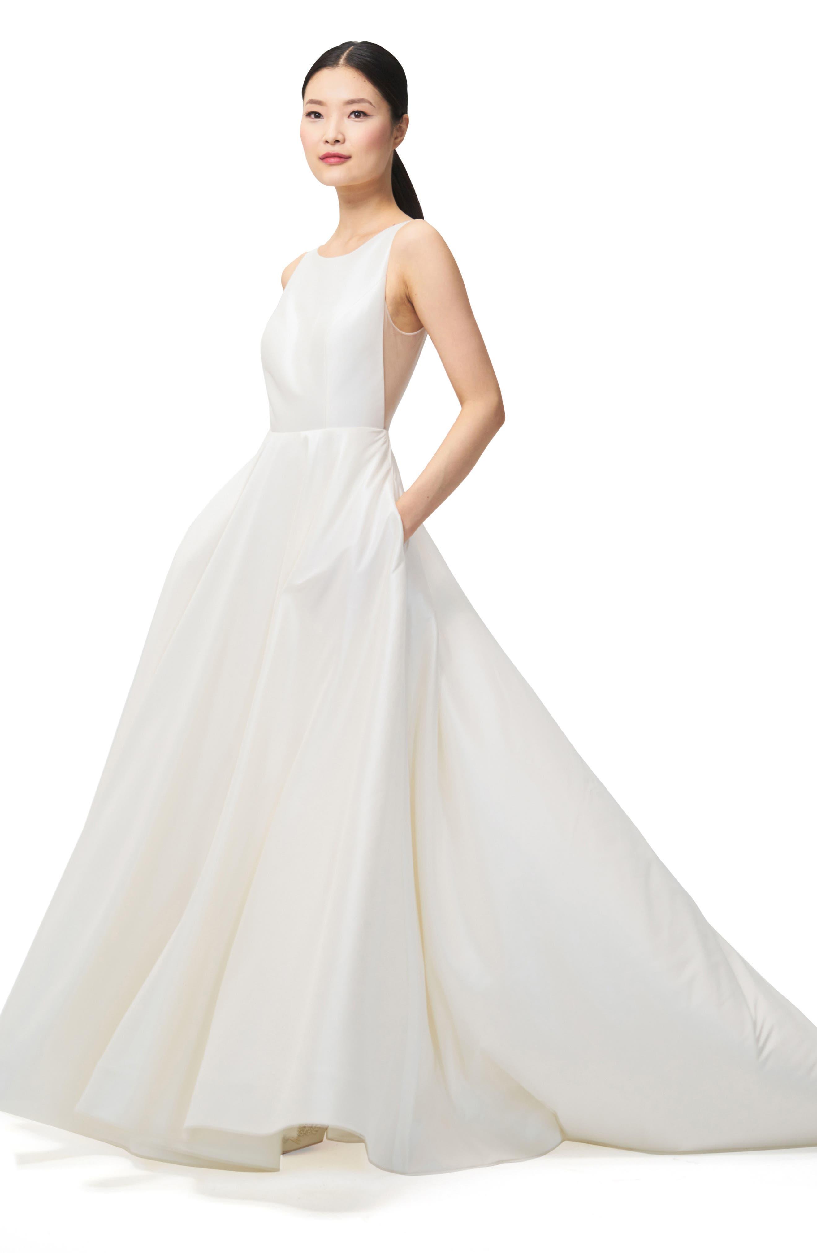 Ashton Plunge Back A-Line Gown,                             Alternate thumbnail 3, color,                             IVORY