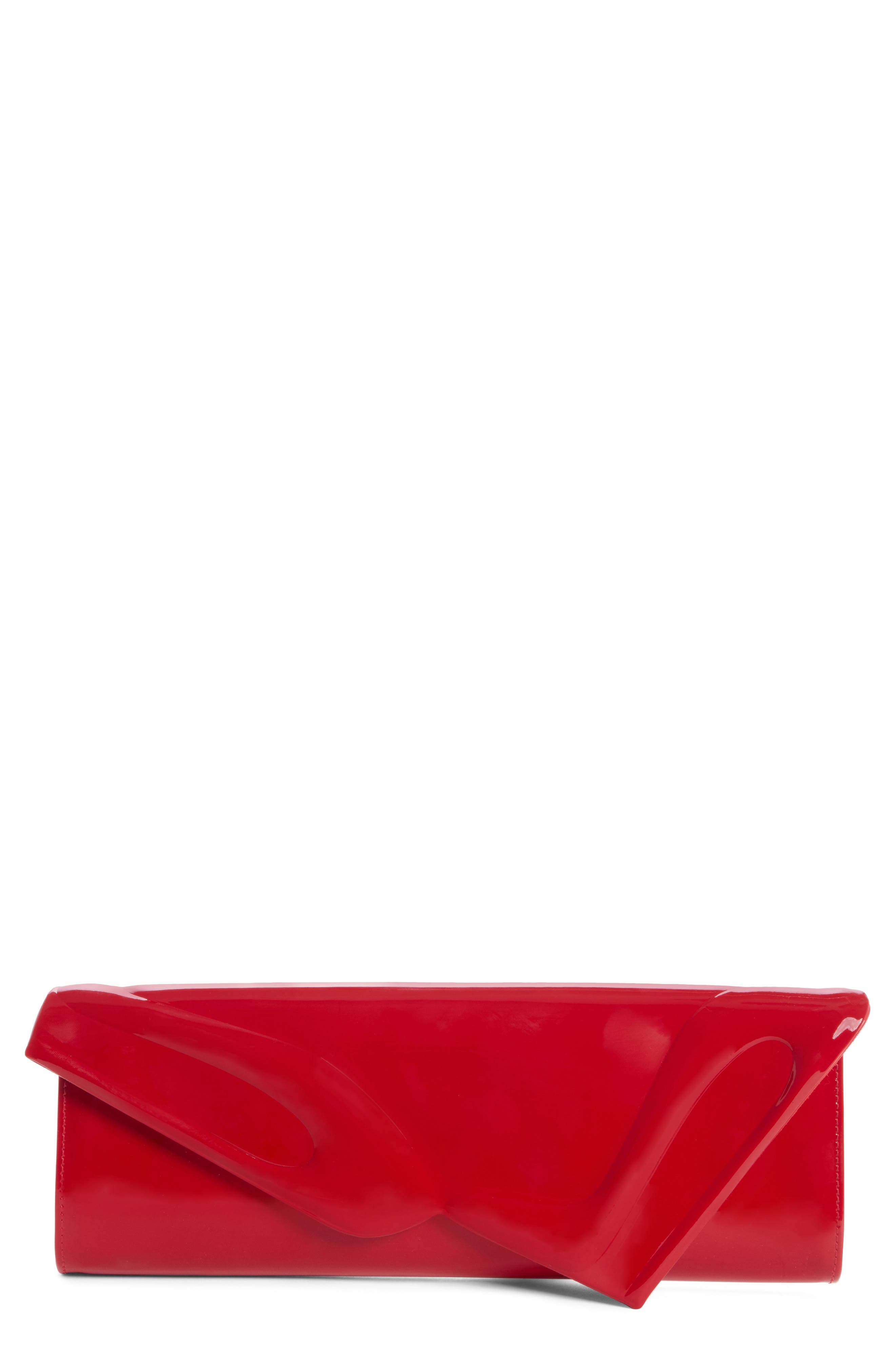 So Kate Patent Leather Clutch,                             Main thumbnail 1, color,                             RED