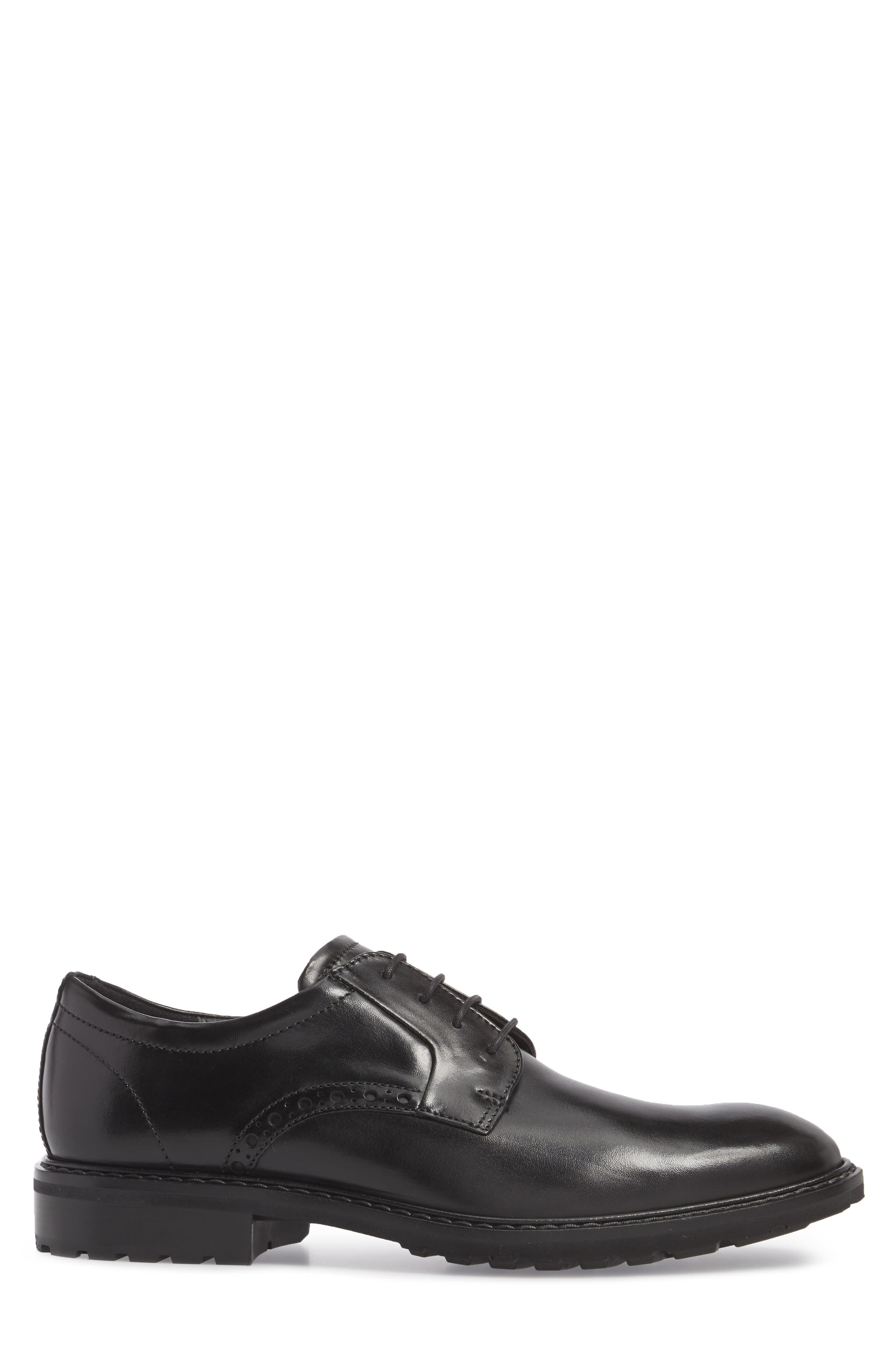 Vitrus I Plain Toe Derby,                             Alternate thumbnail 3, color,                             BLACK LEATHER