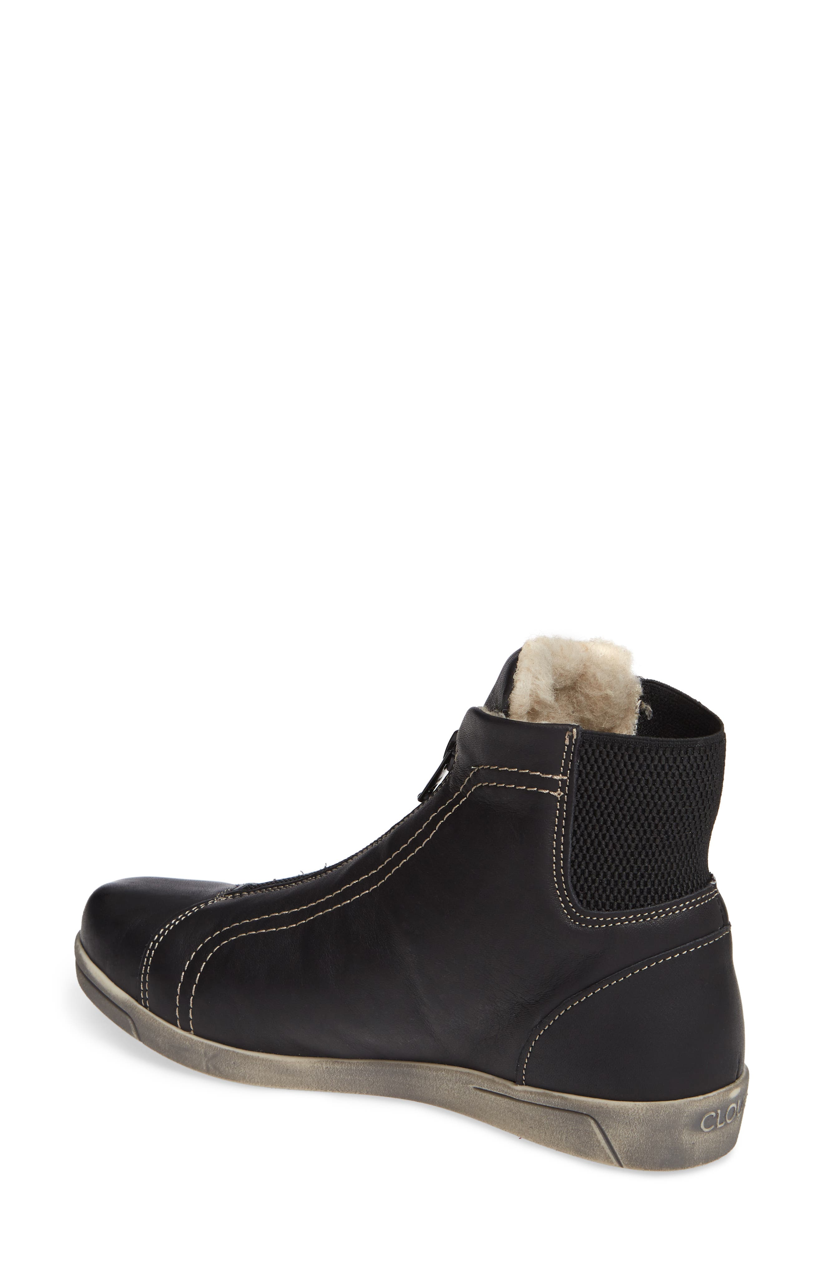 Amiga Wool Lined Bootie,                             Alternate thumbnail 2, color,                             BLACK LEATHER