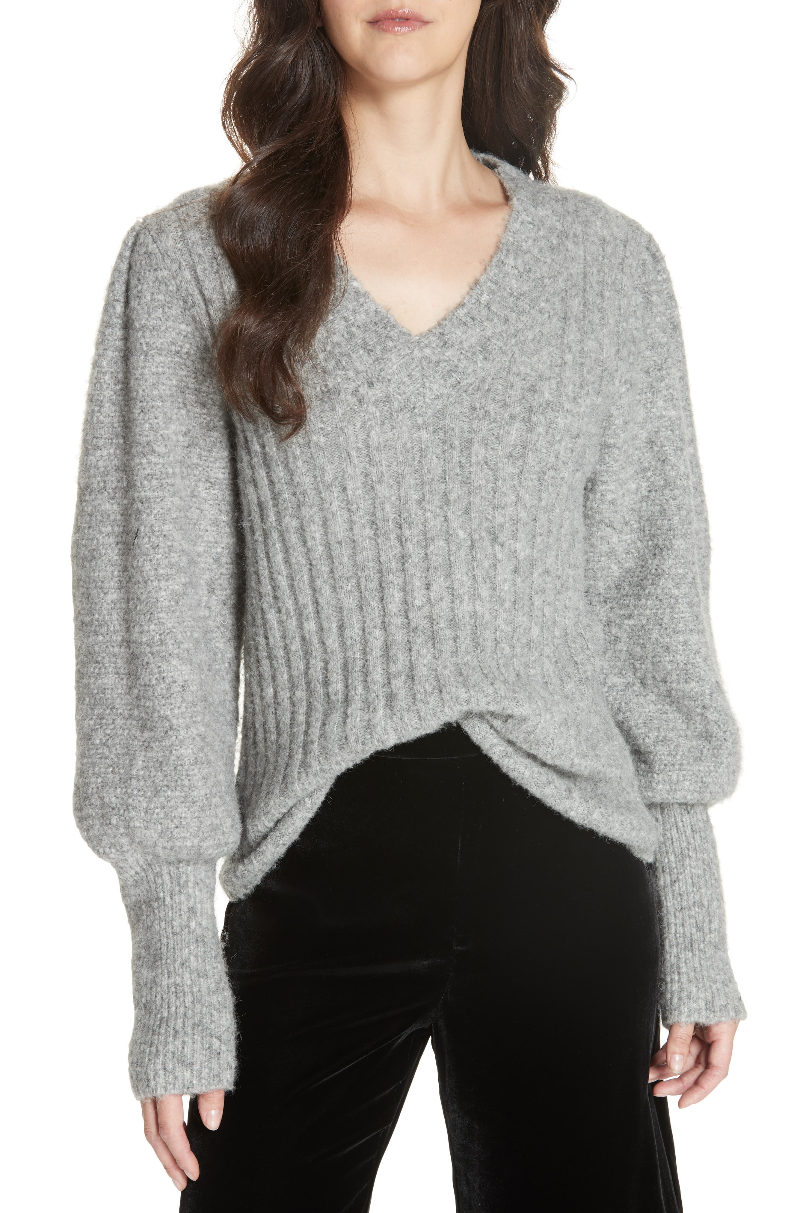 Lofty Alpaca Wool Blend Sweater,                             Main thumbnail 1, color,                             HEATHER GREY