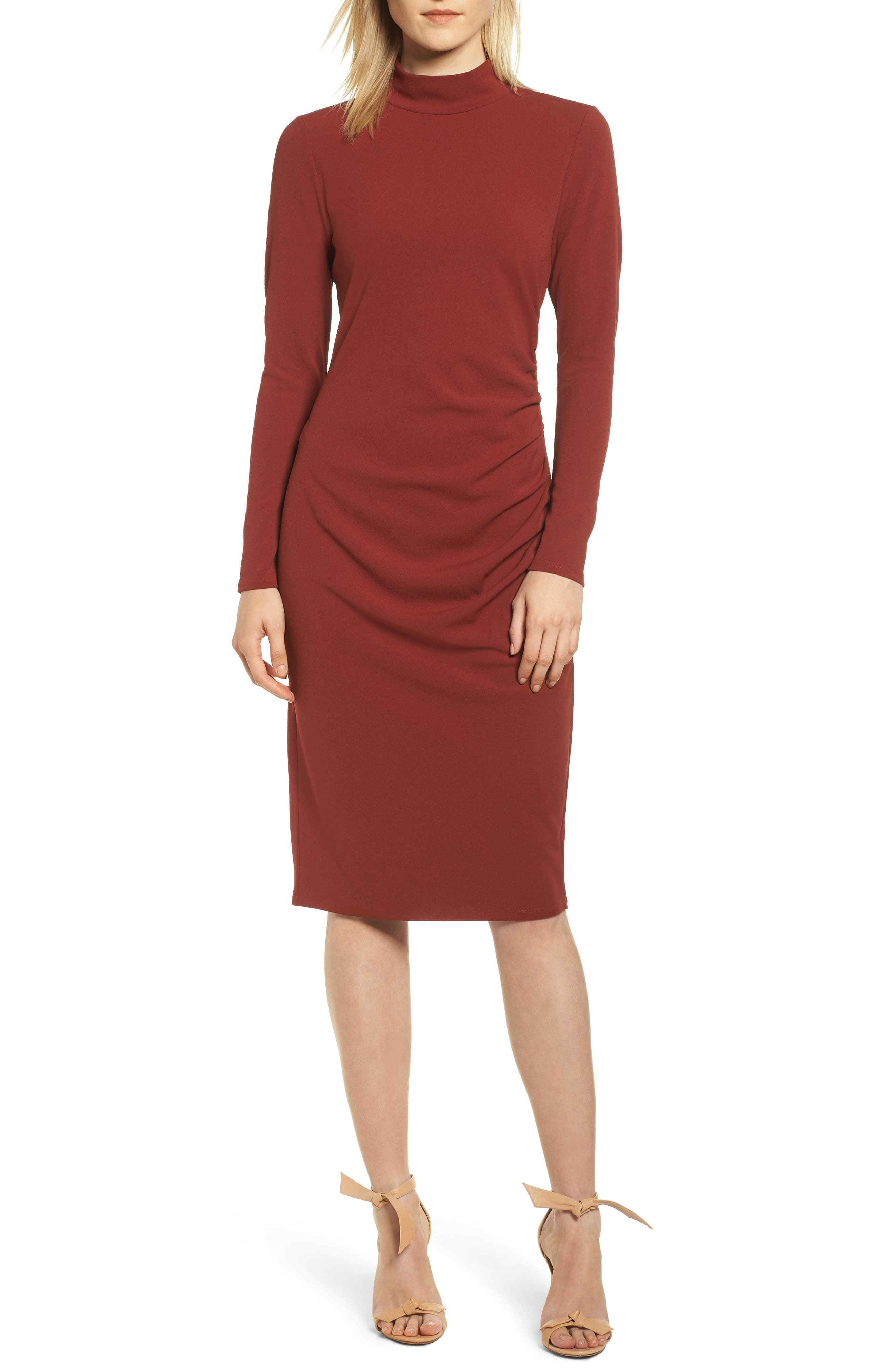 Chelsea28 Mock Neck Body-Con Dress, Red