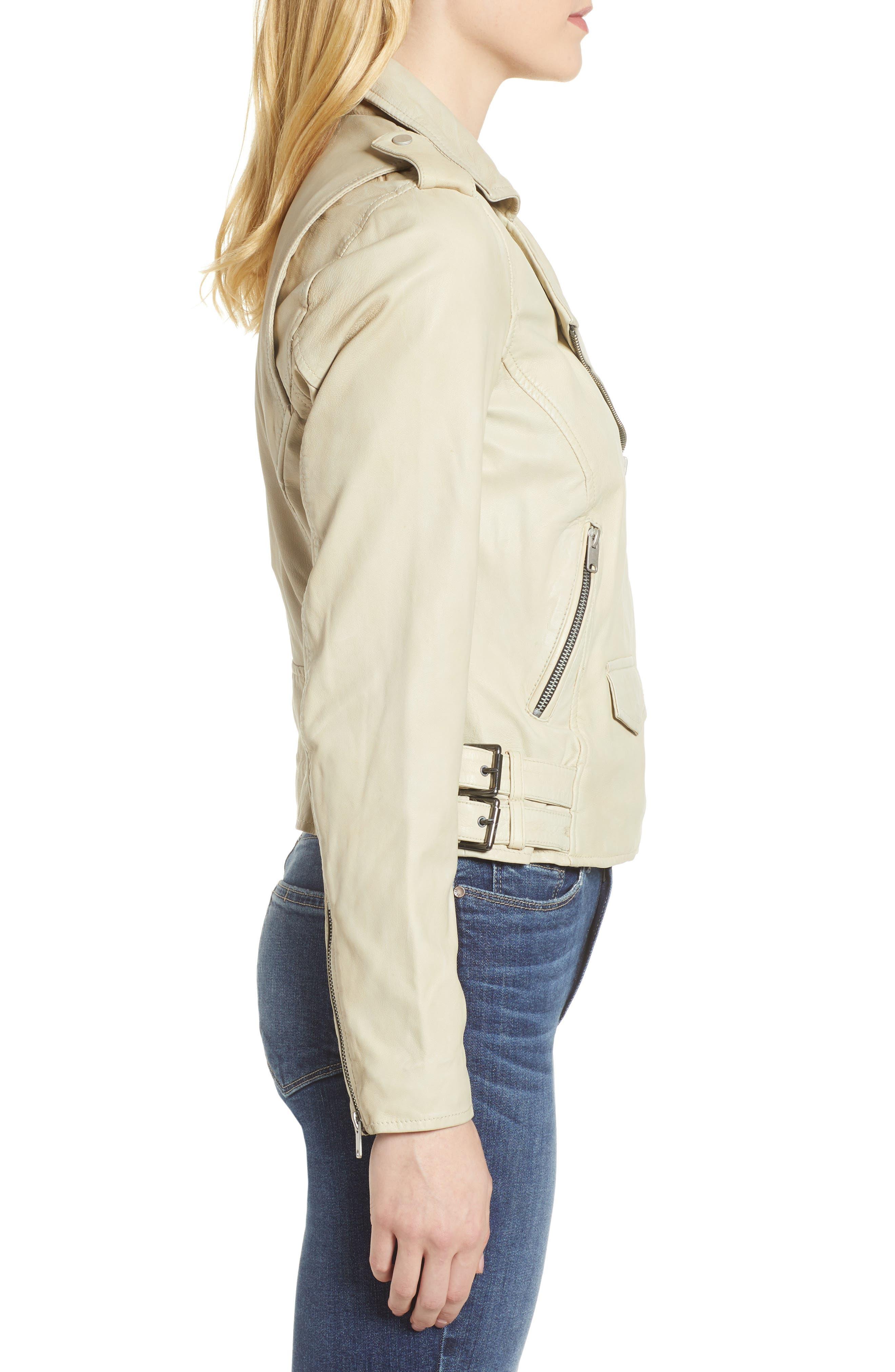 Whitney Washed Leather Crop Jacket,                             Alternate thumbnail 3, color,                             277