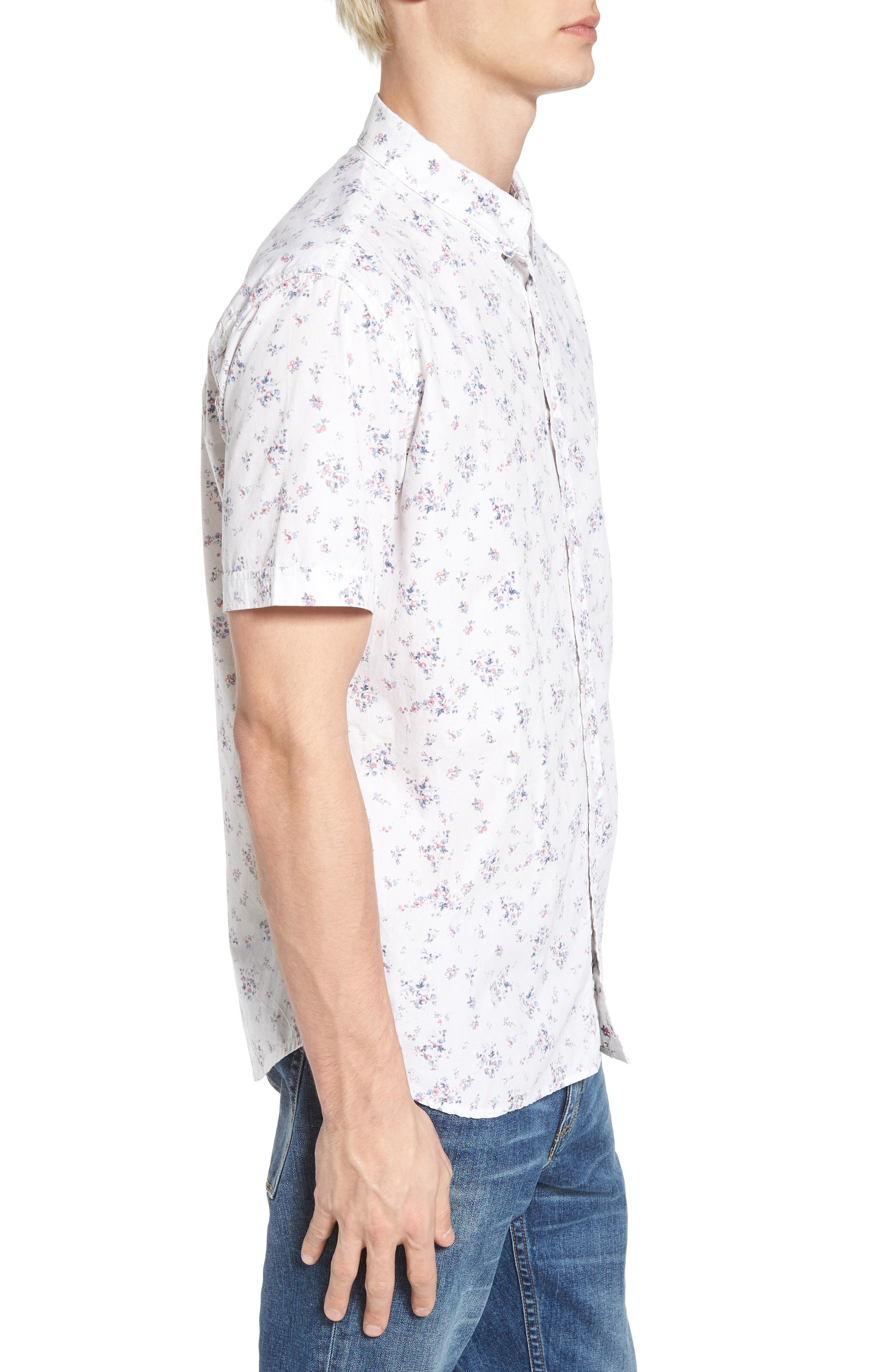 Carson Slim Fit Floral Print Sport Shirt,                             Alternate thumbnail 3, color,                             100
