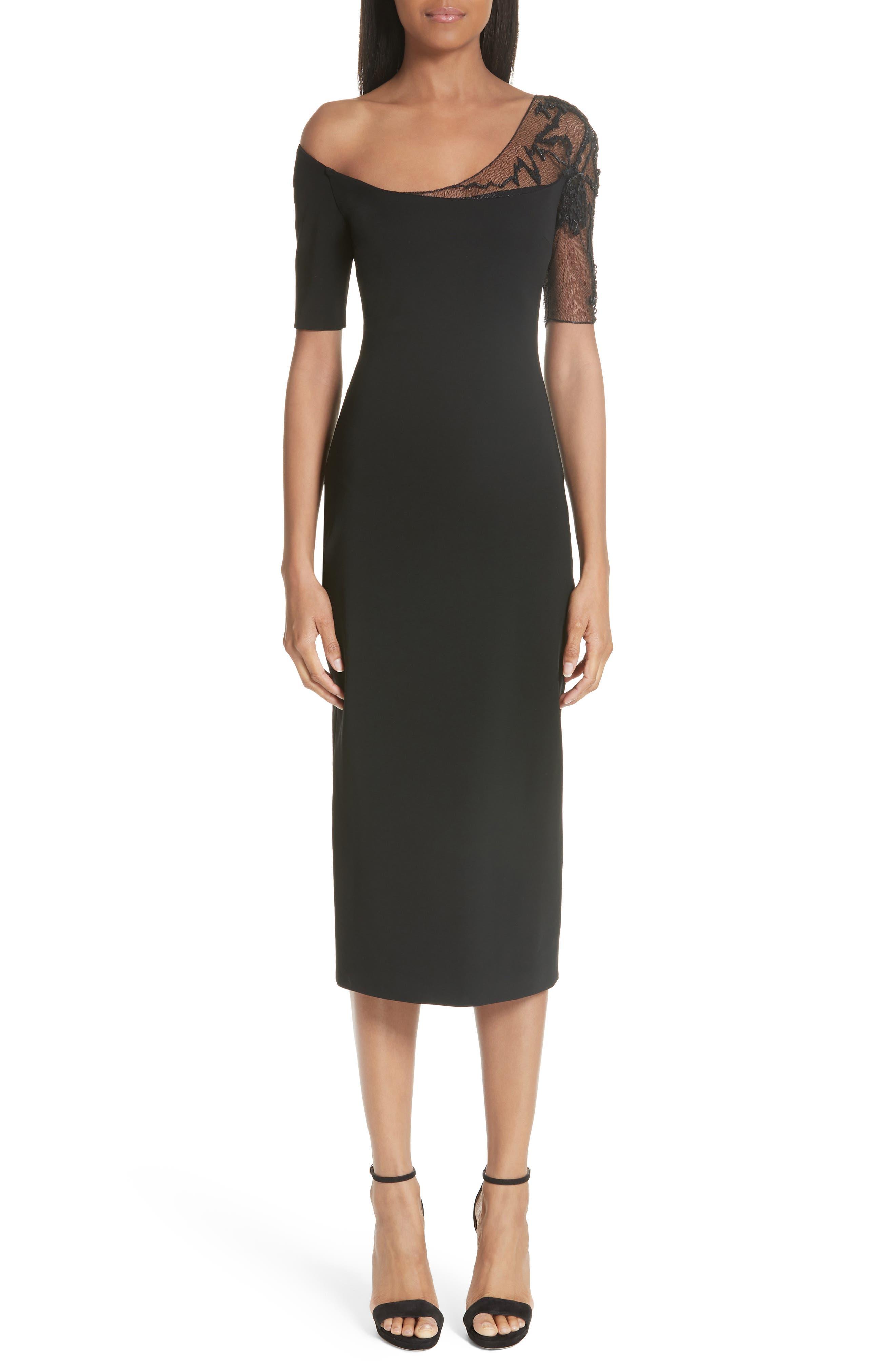CUSHNIE et Ochs Embellished Mesh One-Shoulder Sheath Dress, Main, color, 001