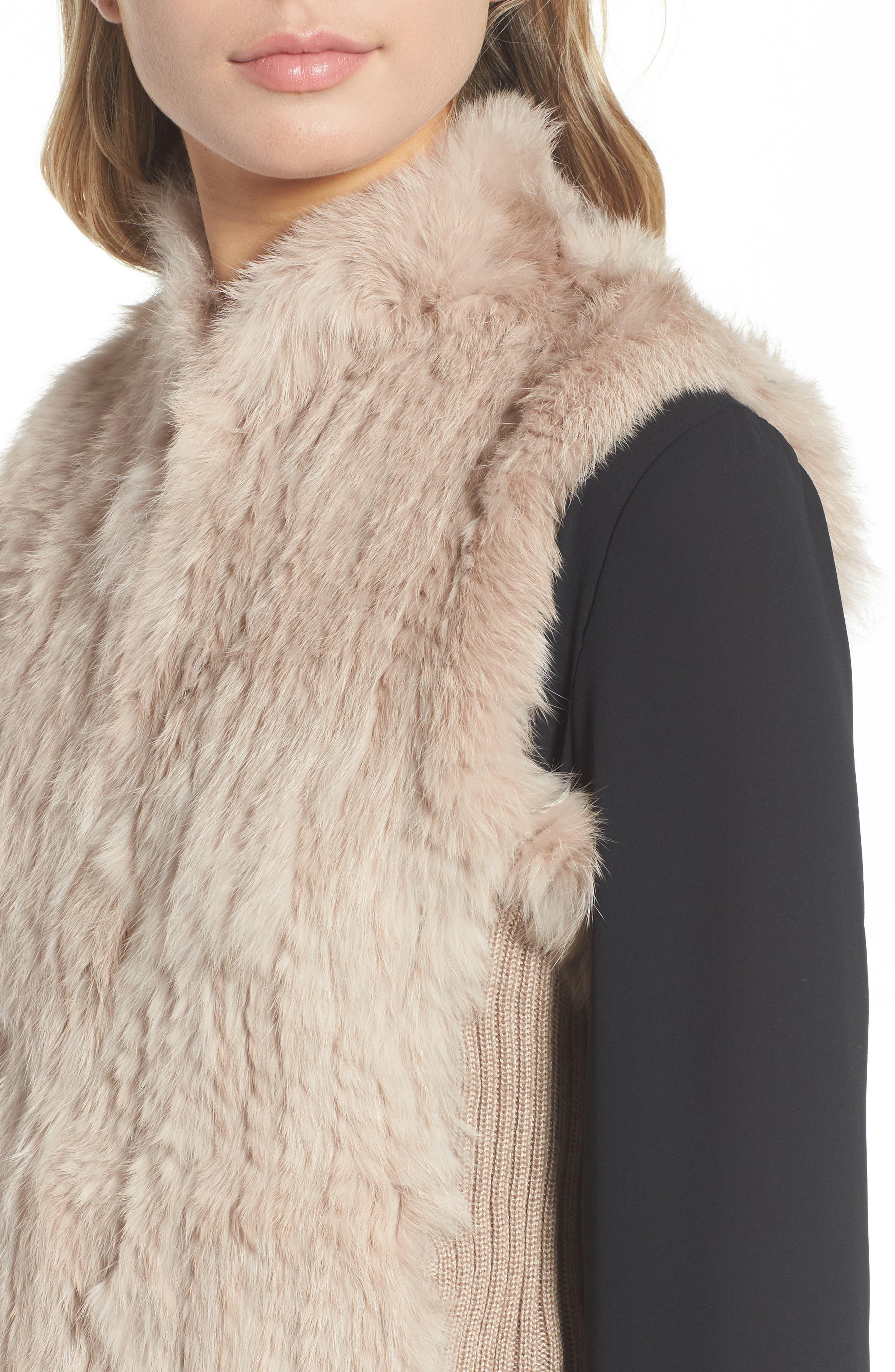 Genuine Rabbit Fur & Knit Vest,                             Alternate thumbnail 25, color,