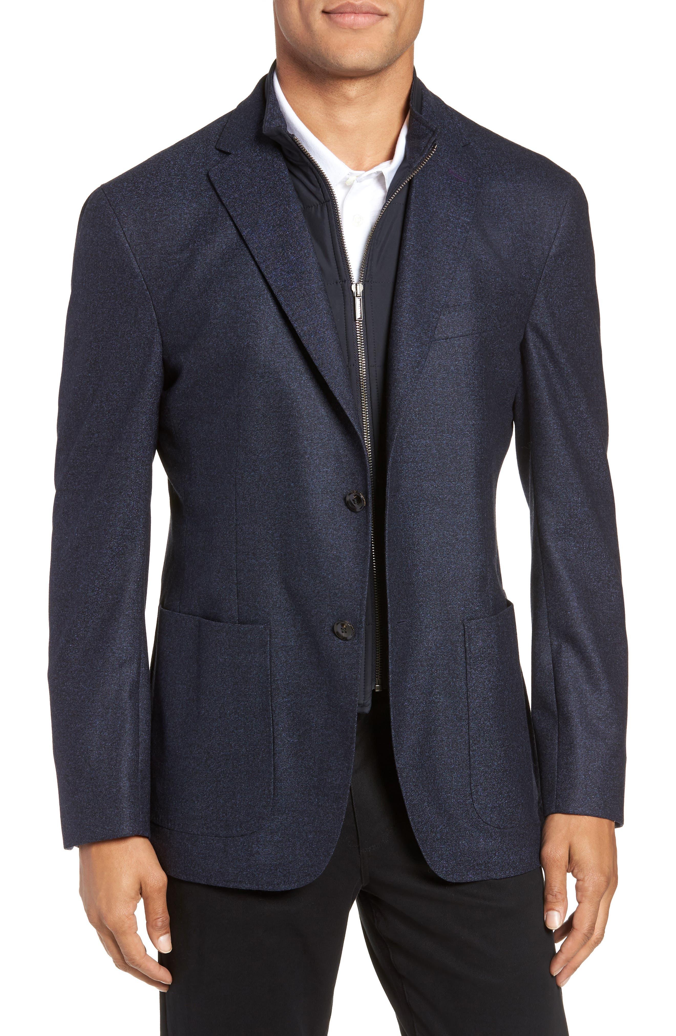Tucker Trim Fit Wool Blazer,                         Main,                         color, BLUE