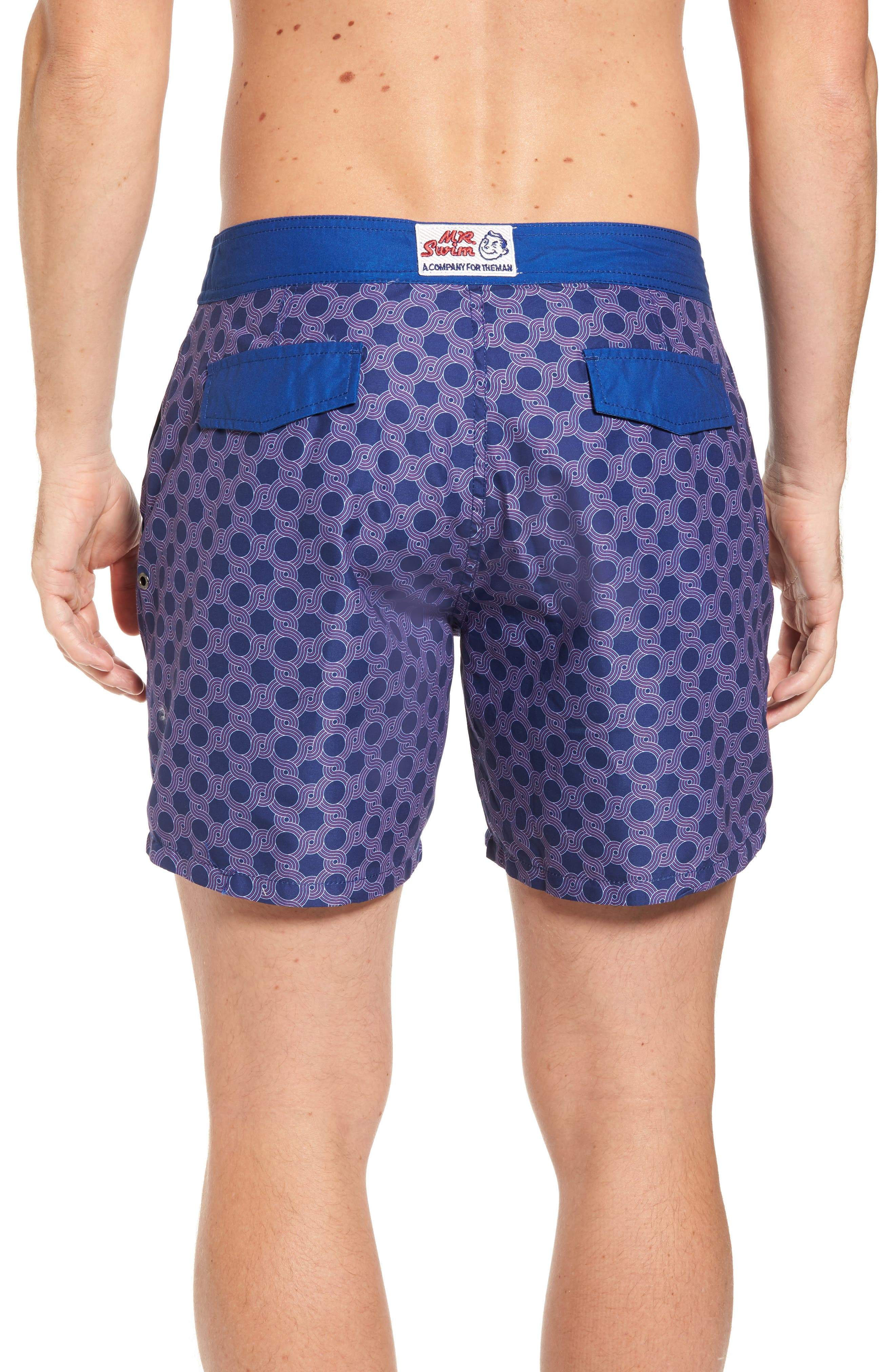 Mr. Swim Figure Eight Print Swim Trunks,                             Alternate thumbnail 2, color,                             NAVY