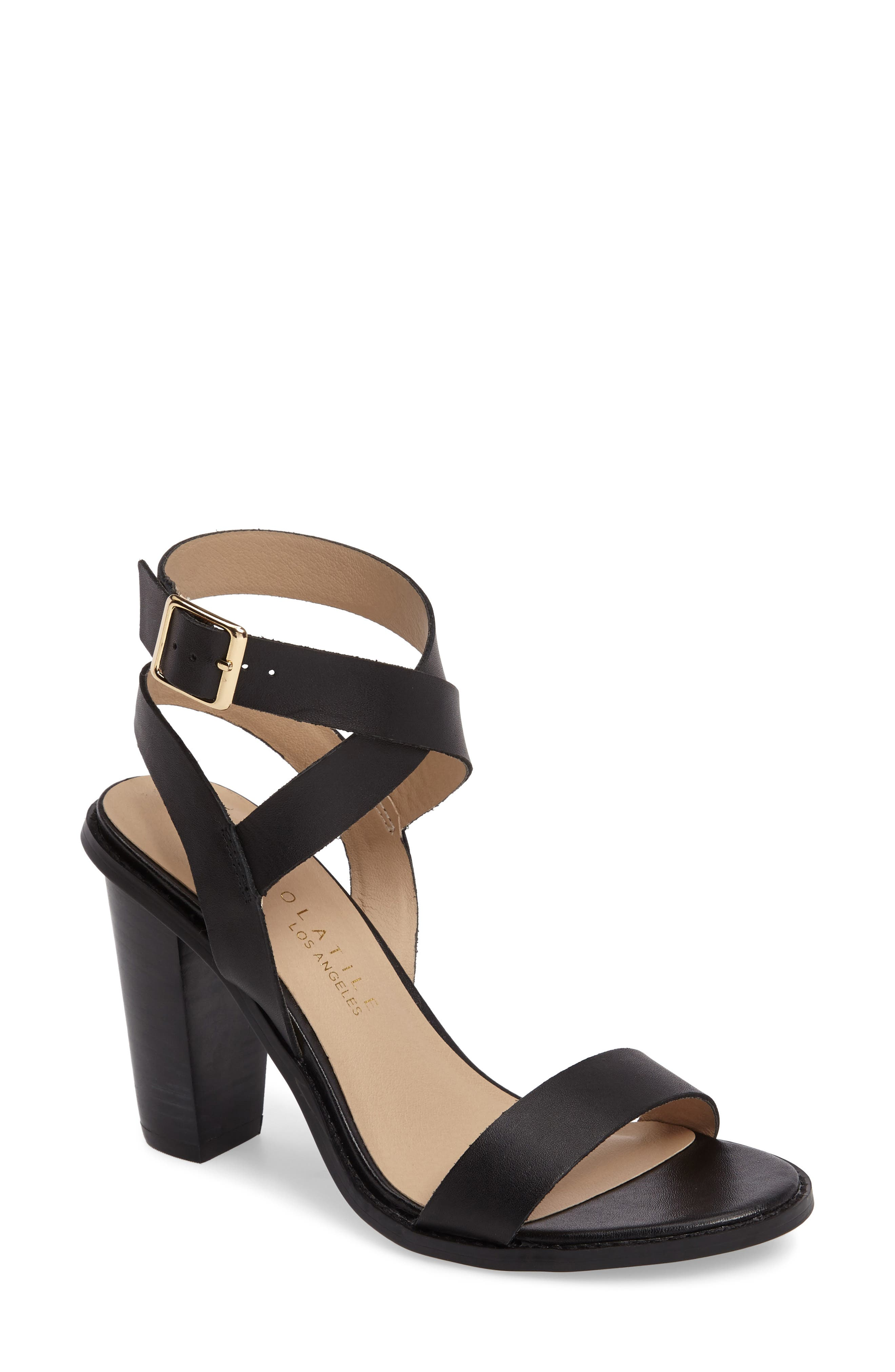 Poshy Ankle Wrap Sandal,                         Main,                         color, BLACK LEATHER