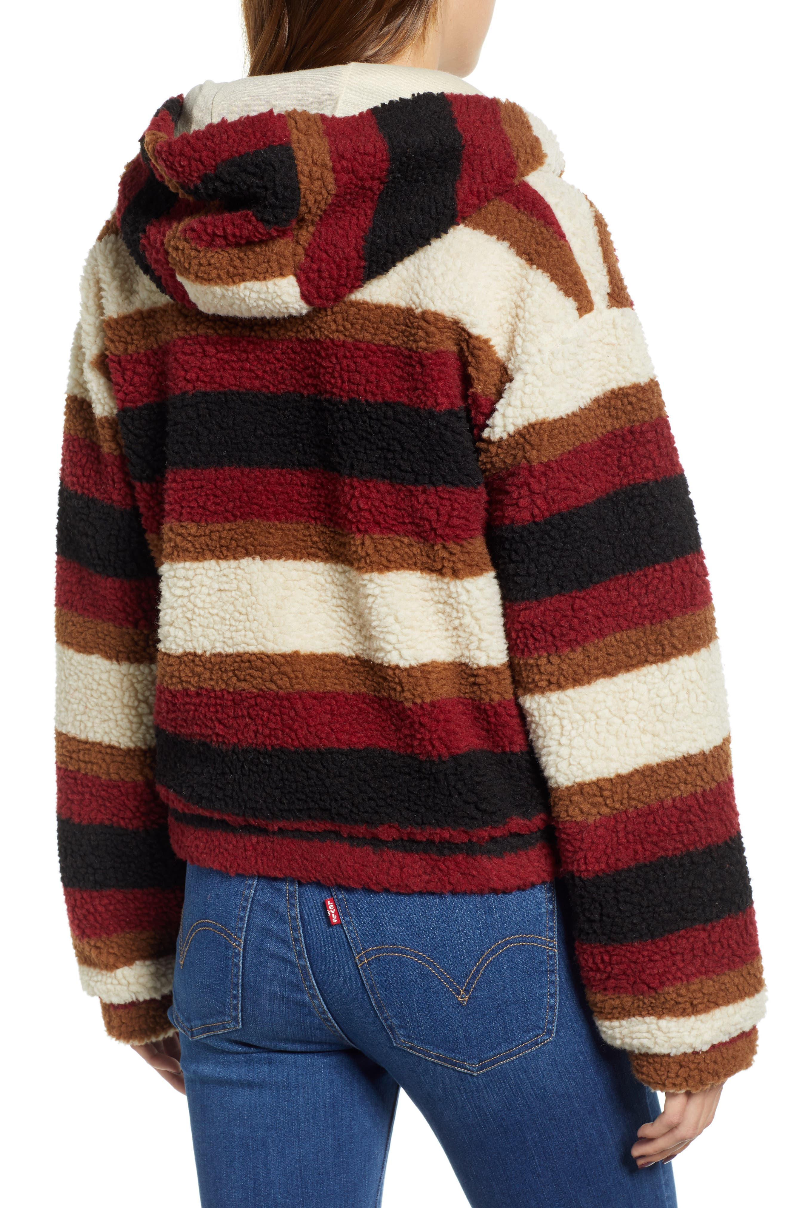 Stripe Fleece Hooded Jacket,                             Alternate thumbnail 2, color,                             NATURAL STRIPE