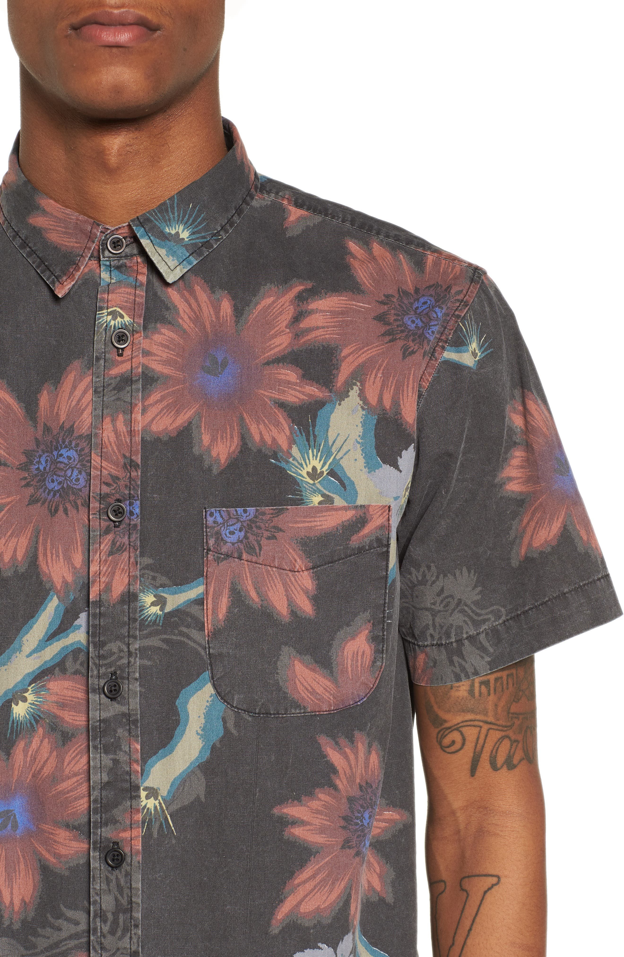 Vault Woven Shirt,                             Alternate thumbnail 4, color,                             VINTAGE BLACK