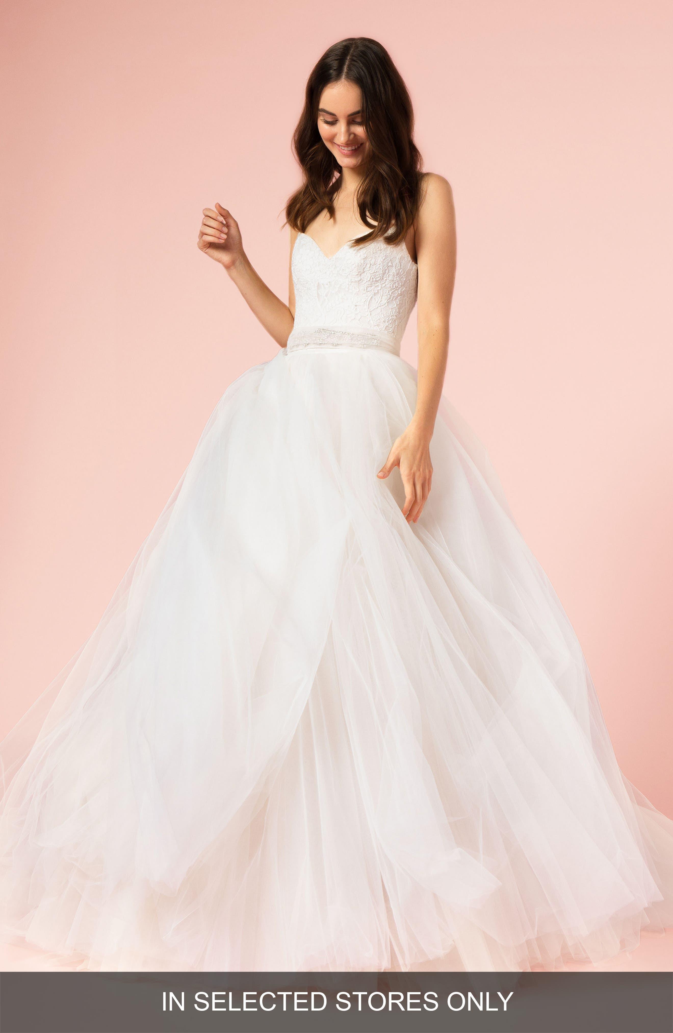 Spaghetti Strap Lace & Tulle Ball Gown,                             Main thumbnail 1, color,                             SILK WHITE/ BLUSH