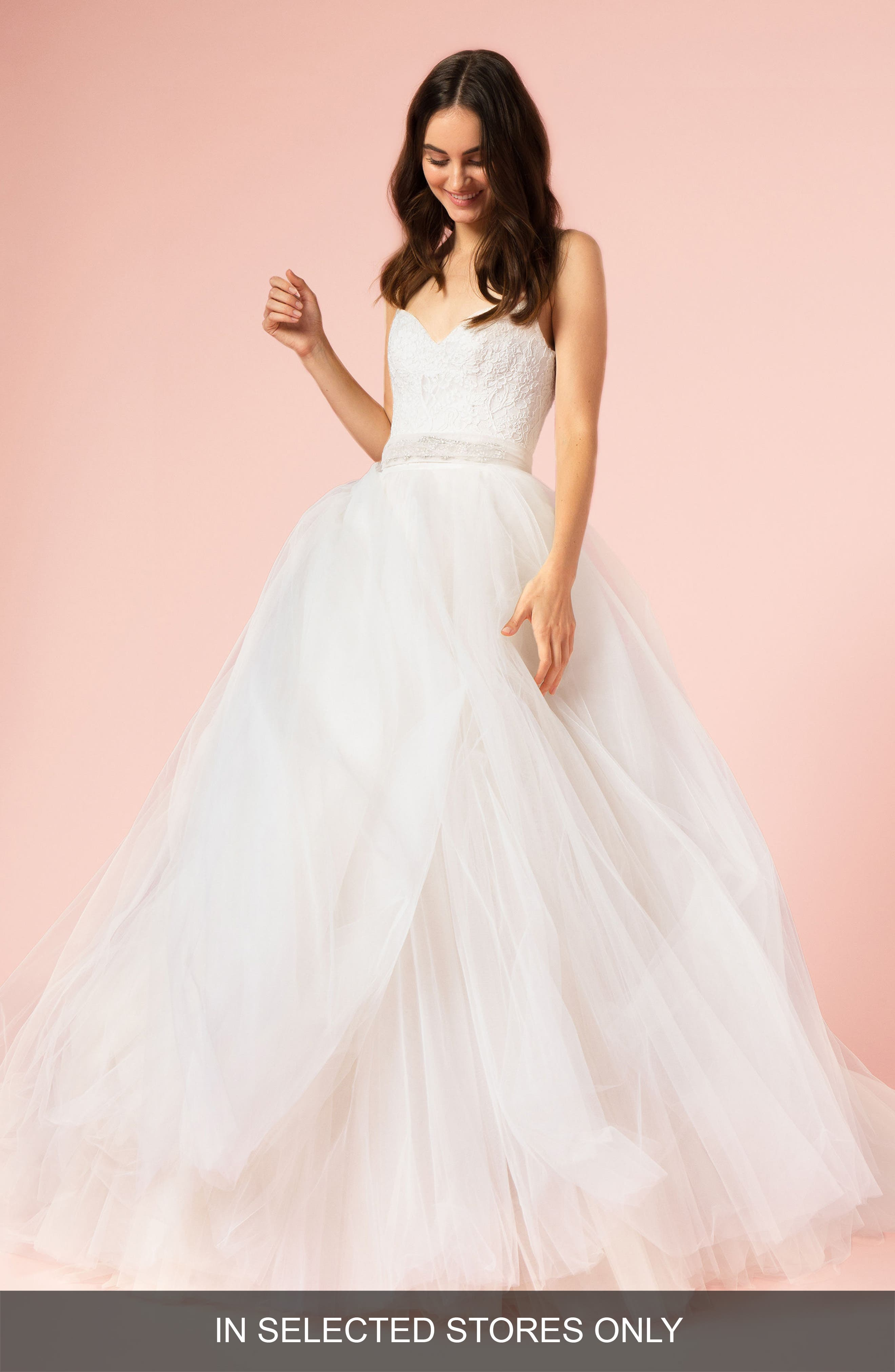 BLISS MONIQUE LHUILLIER Spaghetti Strap Lace & Tulle Ball Gown, Main, color, SILK WHITE/ BLUSH