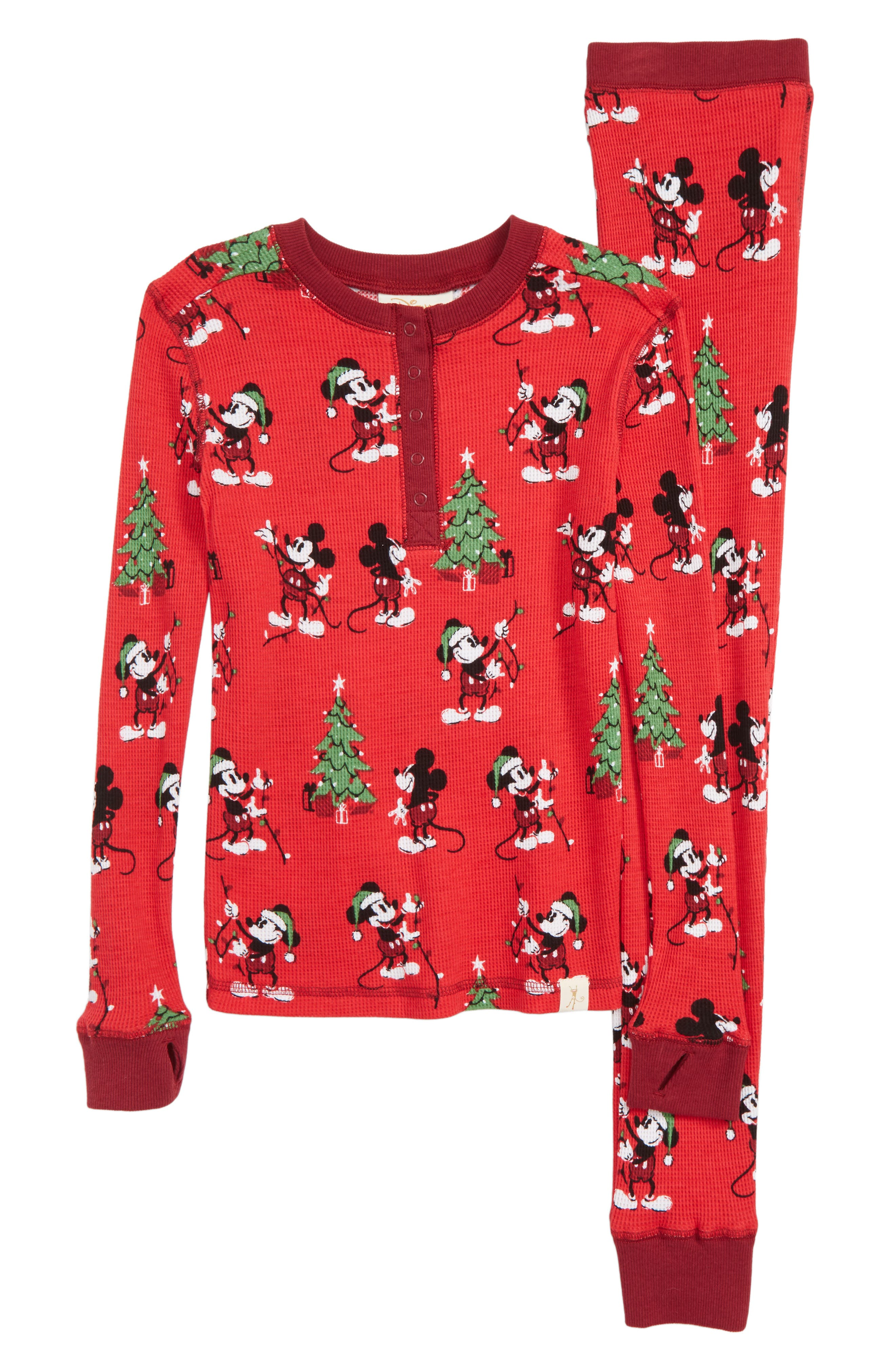 x Disney Mickey Mouse Christmas Fitted Two-Piece Pajamas,                         Main,                         color, RED