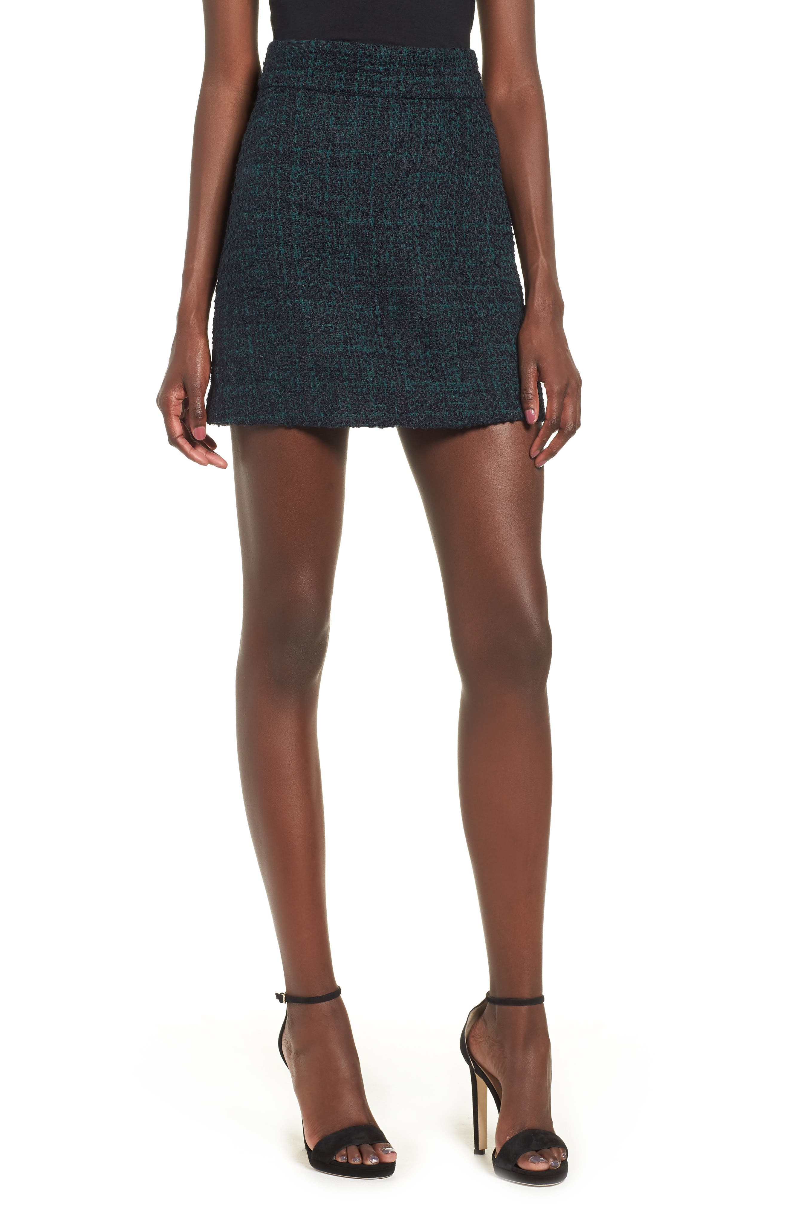 Tweed Miniskirt,                         Main,                         color, 021