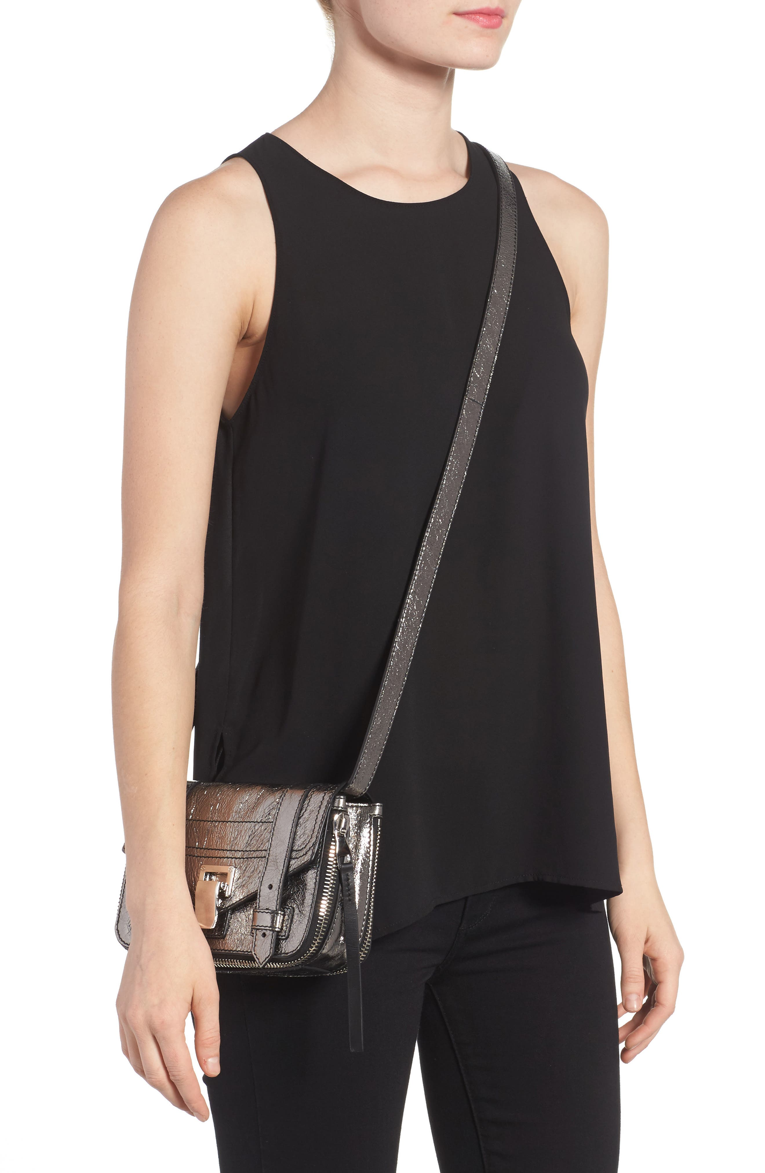 Mini PS1 Metallic Leather Crossbody Bag,                             Alternate thumbnail 2, color,                             040