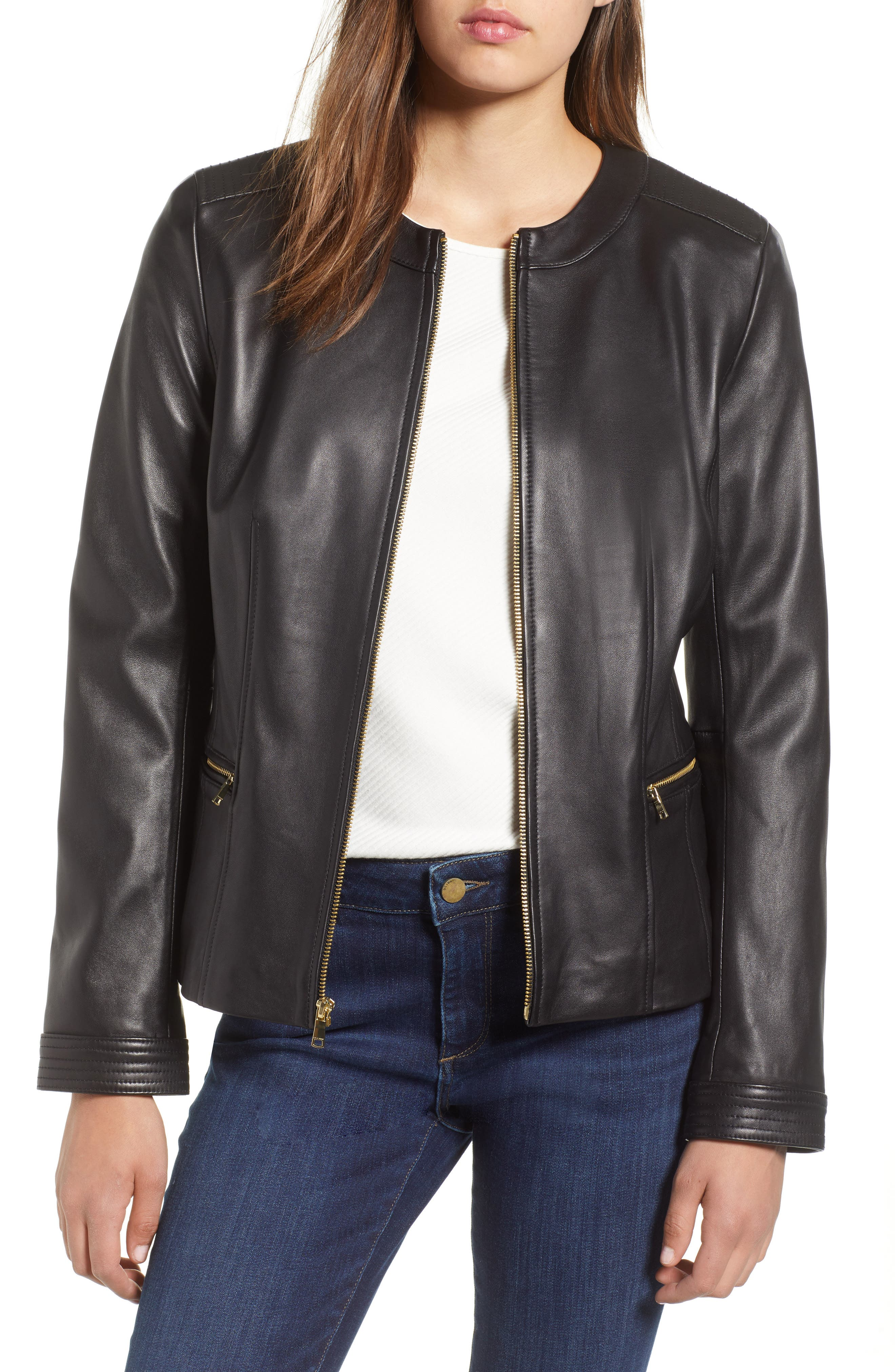 Smooth Lambskin Leather Jacket,                             Main thumbnail 1, color,                             002