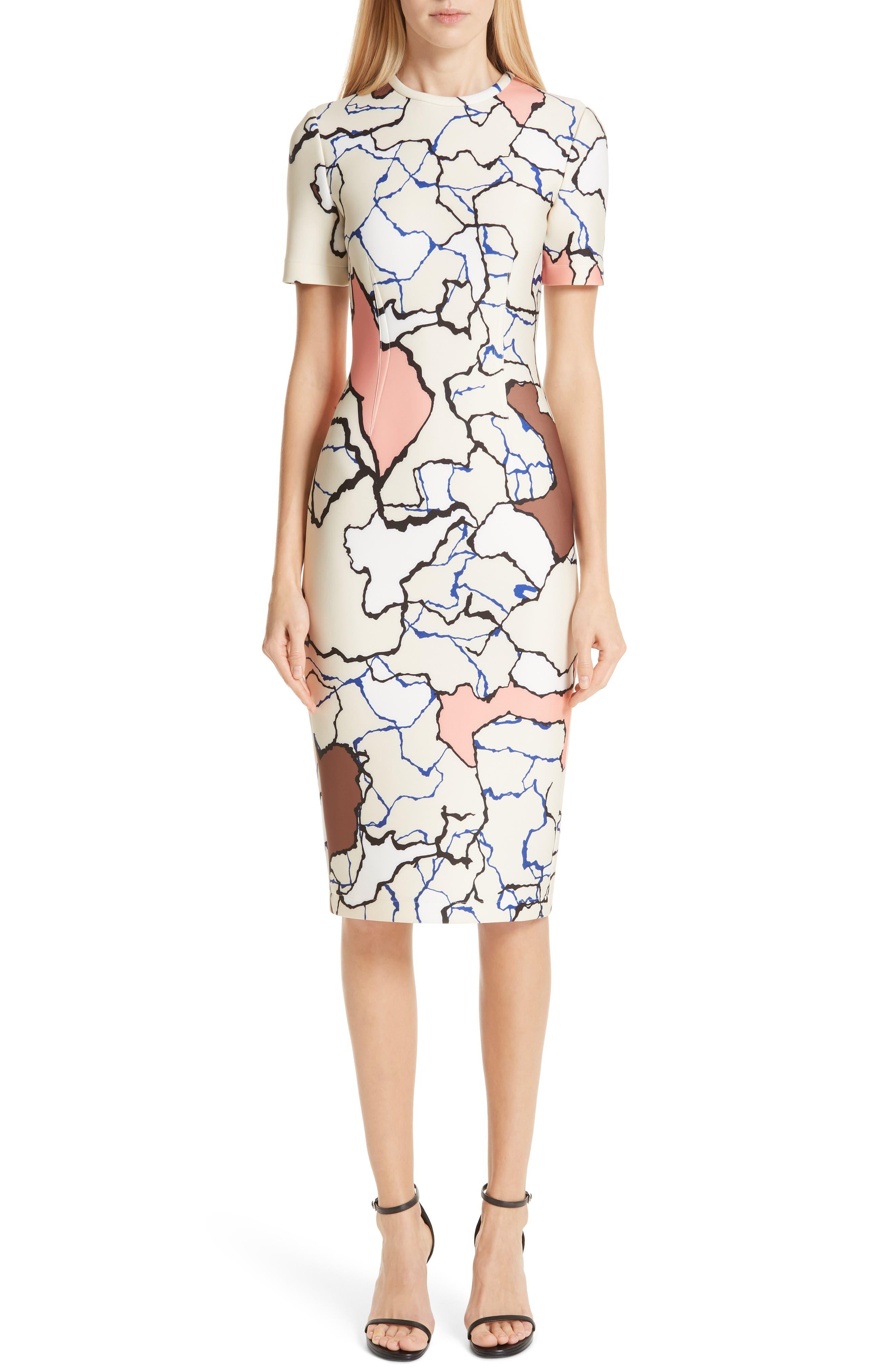 YIGAL AZROUËL Terrazzo Print Scuba Dress, Main, color, MULTI