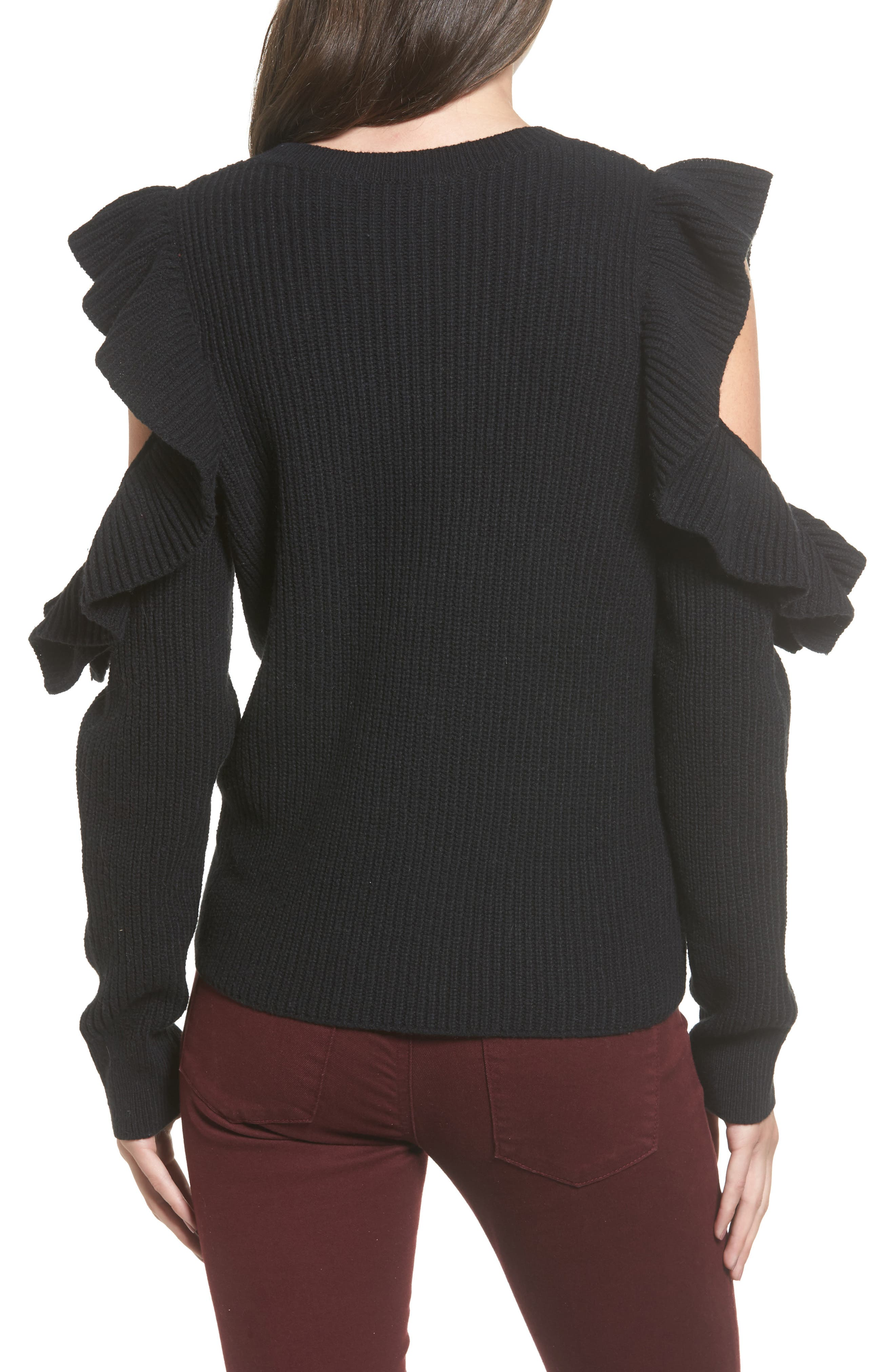 Ruffle Cold Shoulder Sweater,                             Alternate thumbnail 2, color,                             001