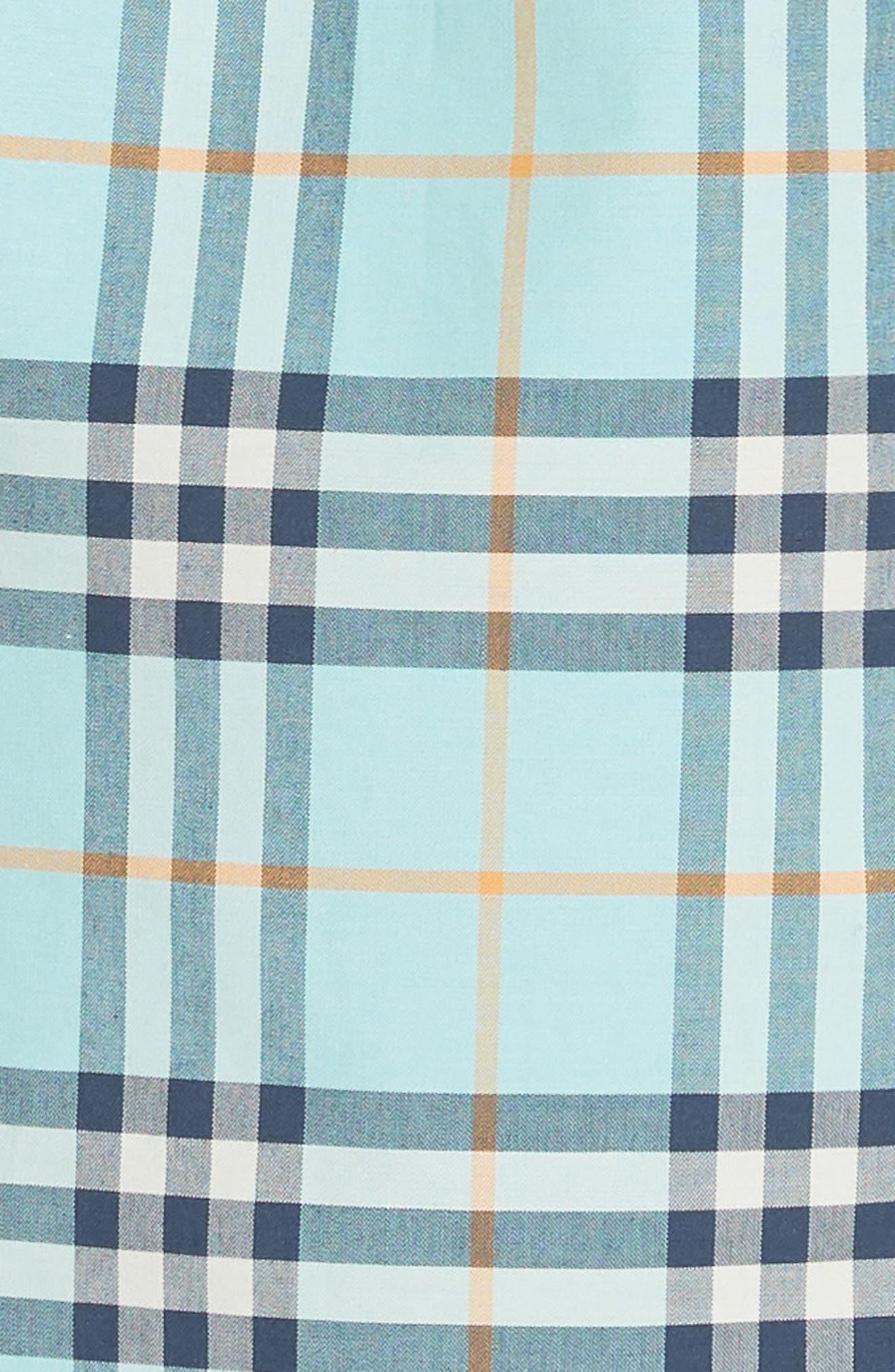 Isotto Tartan Shirtdress,                             Alternate thumbnail 6, color,                             BRIGHT AQUA