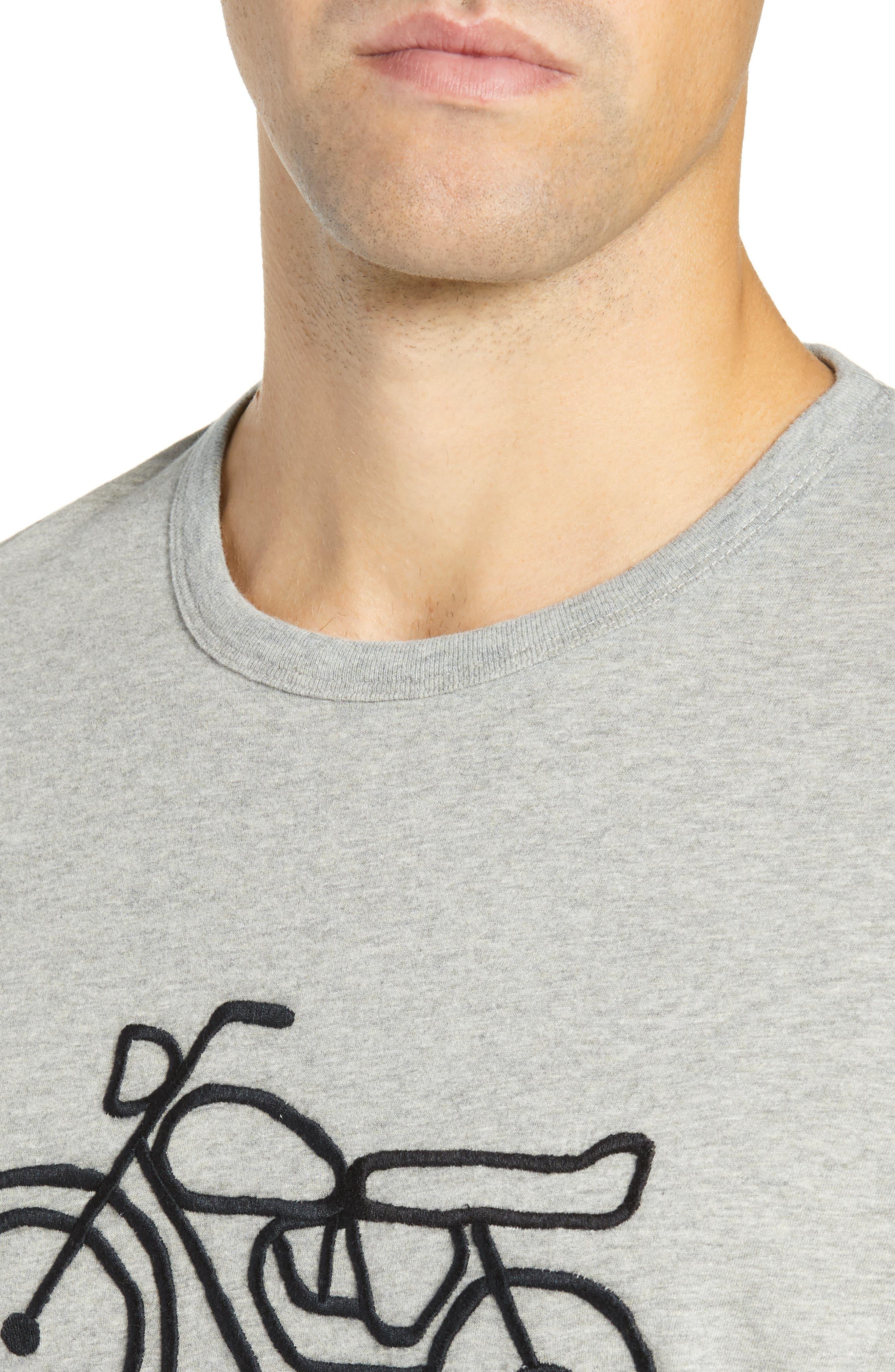 Motorcycle Regular Fit Cotton T-Shirt,                             Alternate thumbnail 4, color,                             GREY MELANGE BLACK