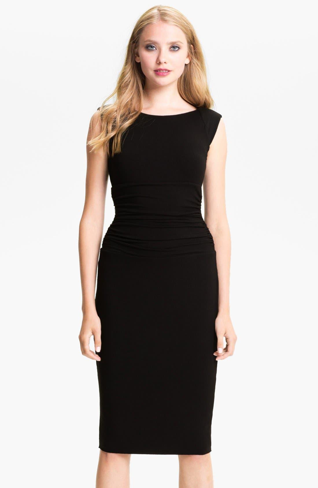 Ruched Cap Sleeve Sheath Dress,                             Main thumbnail 1, color,                             001