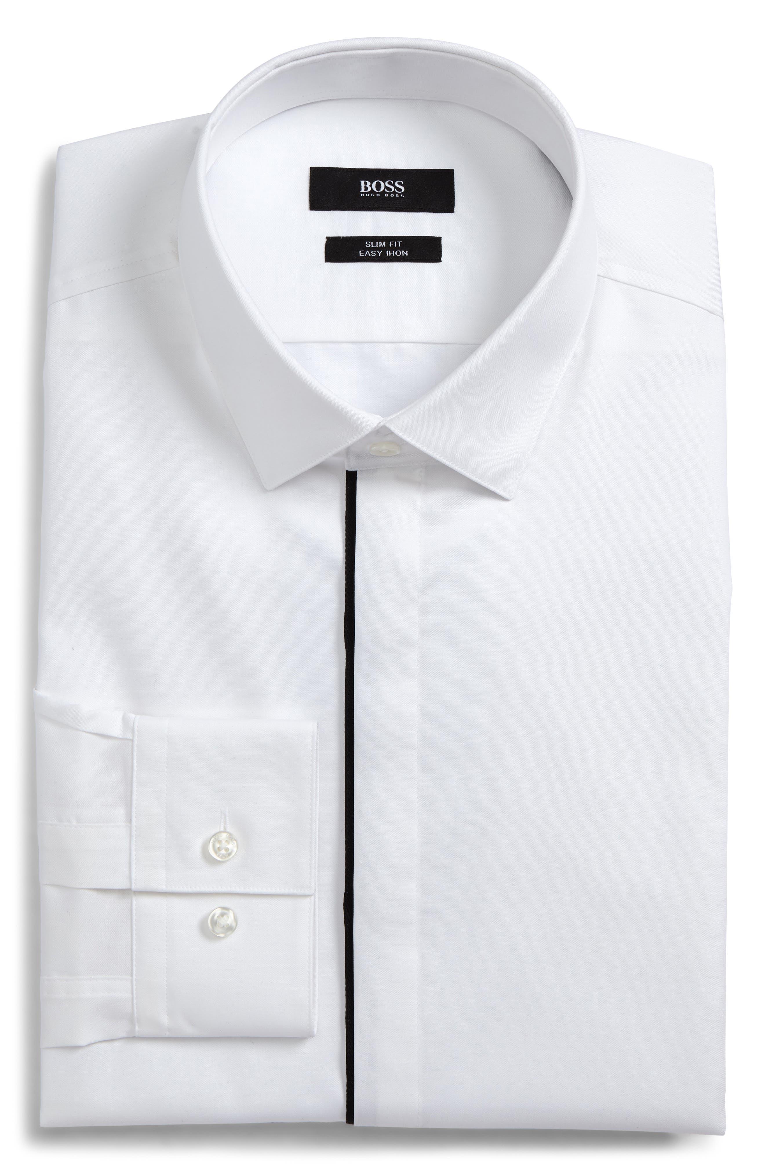 Slim Fit Easy Iron Tuxedo Shirt,                             Main thumbnail 1, color,                             100