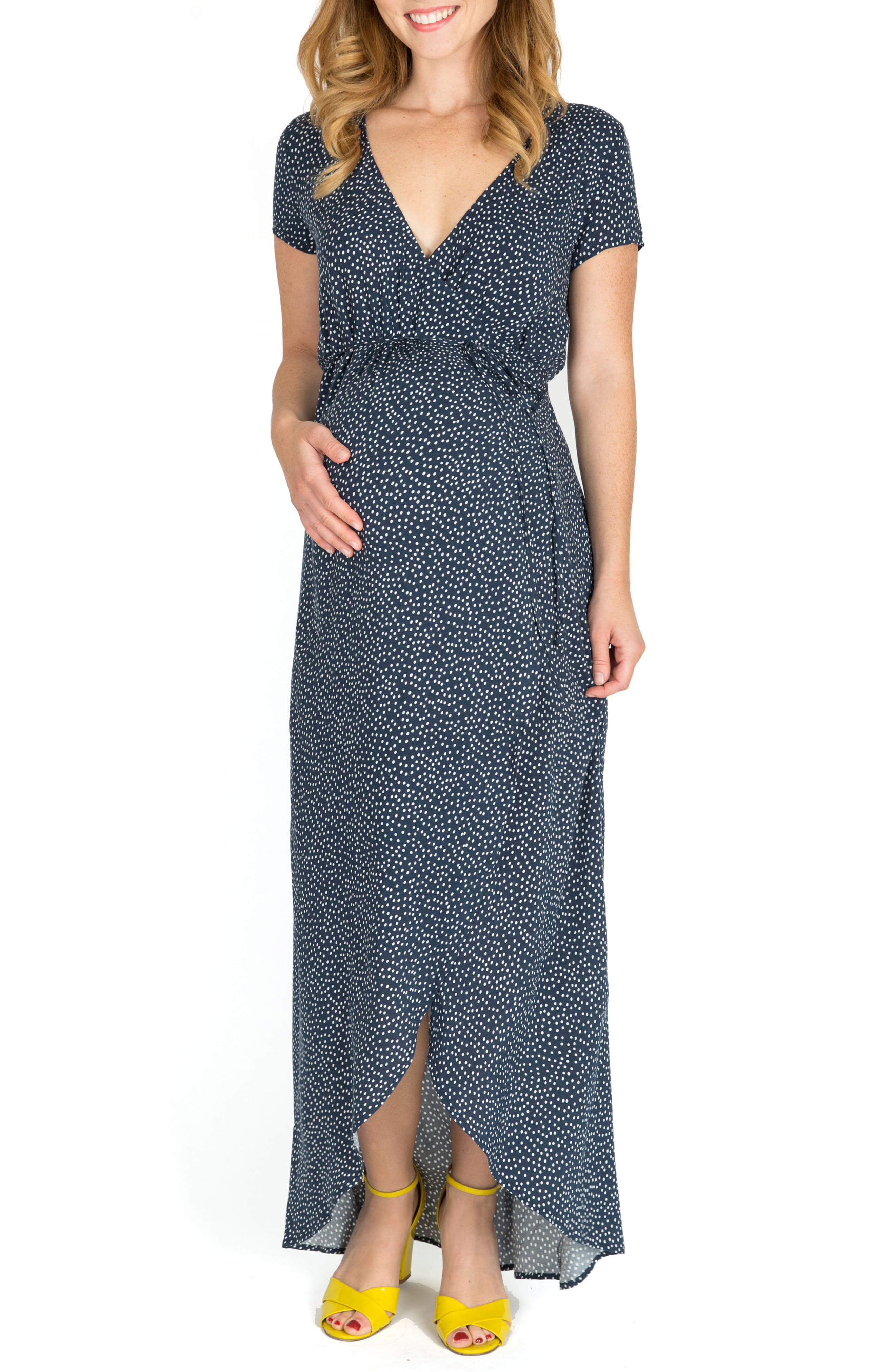 Delilah Maternity/Nursing Wrap Maxi Dress,                         Main,                         color, NAVY DOT