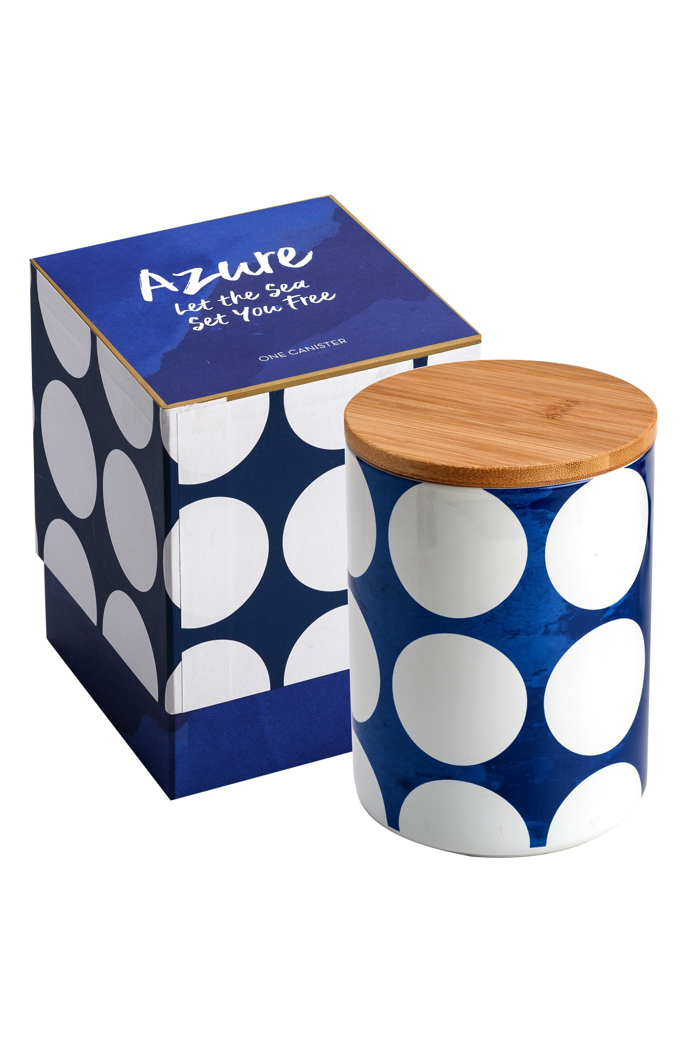 Polka Dot Canister,                         Main,                         color, BLUE/ WHITE