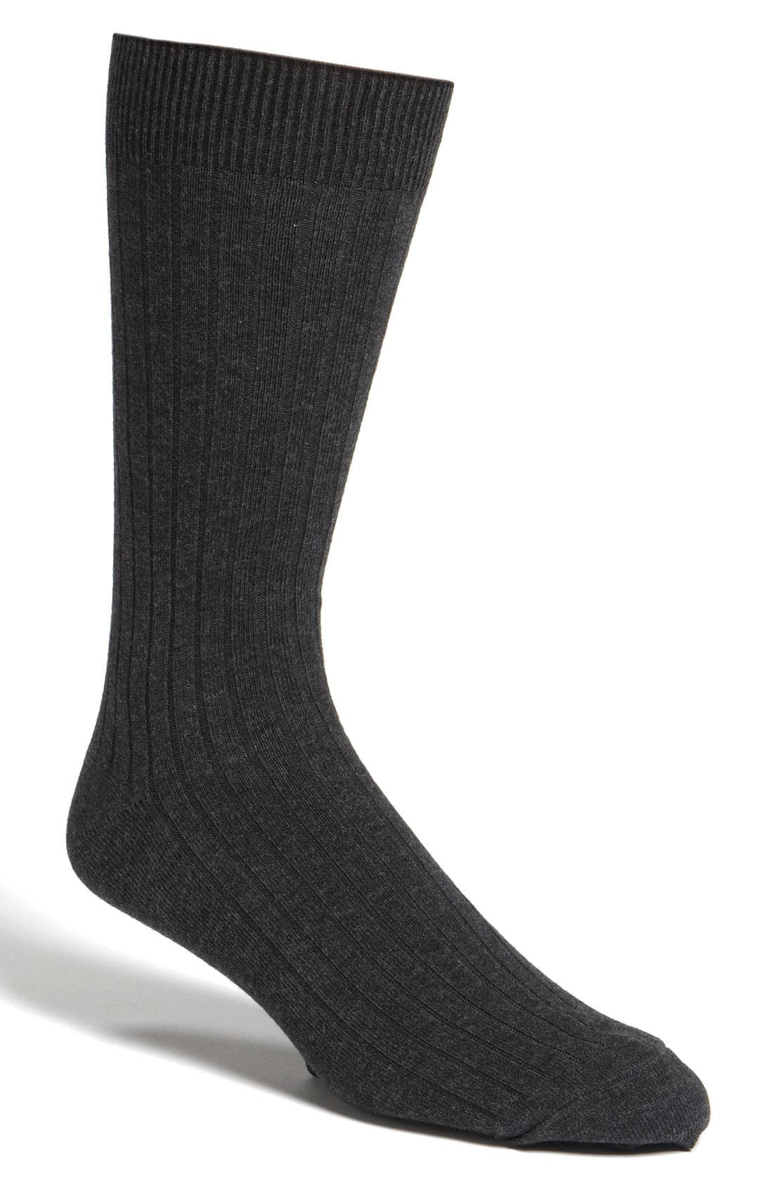 Cotton Blend Socks,                         Main,                         color, BLACK HEATHER