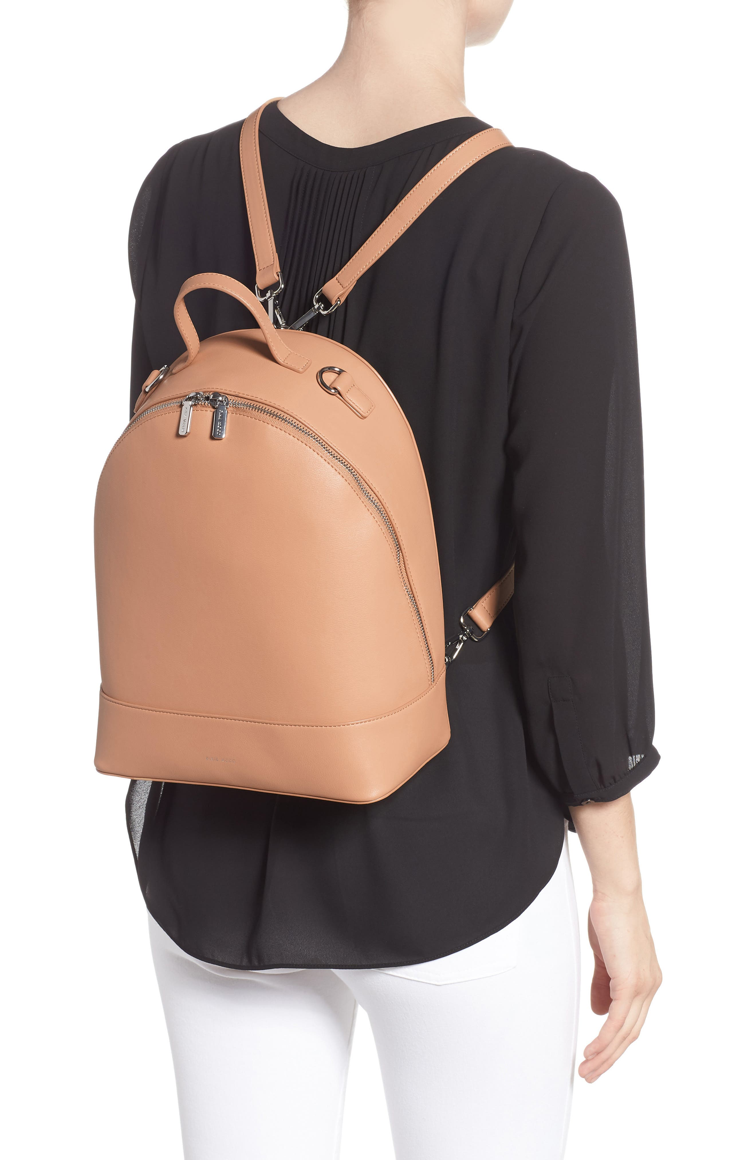 Large Cora Faux Leather Convertible Backpack,                             Alternate thumbnail 2, color,                             PRALINE