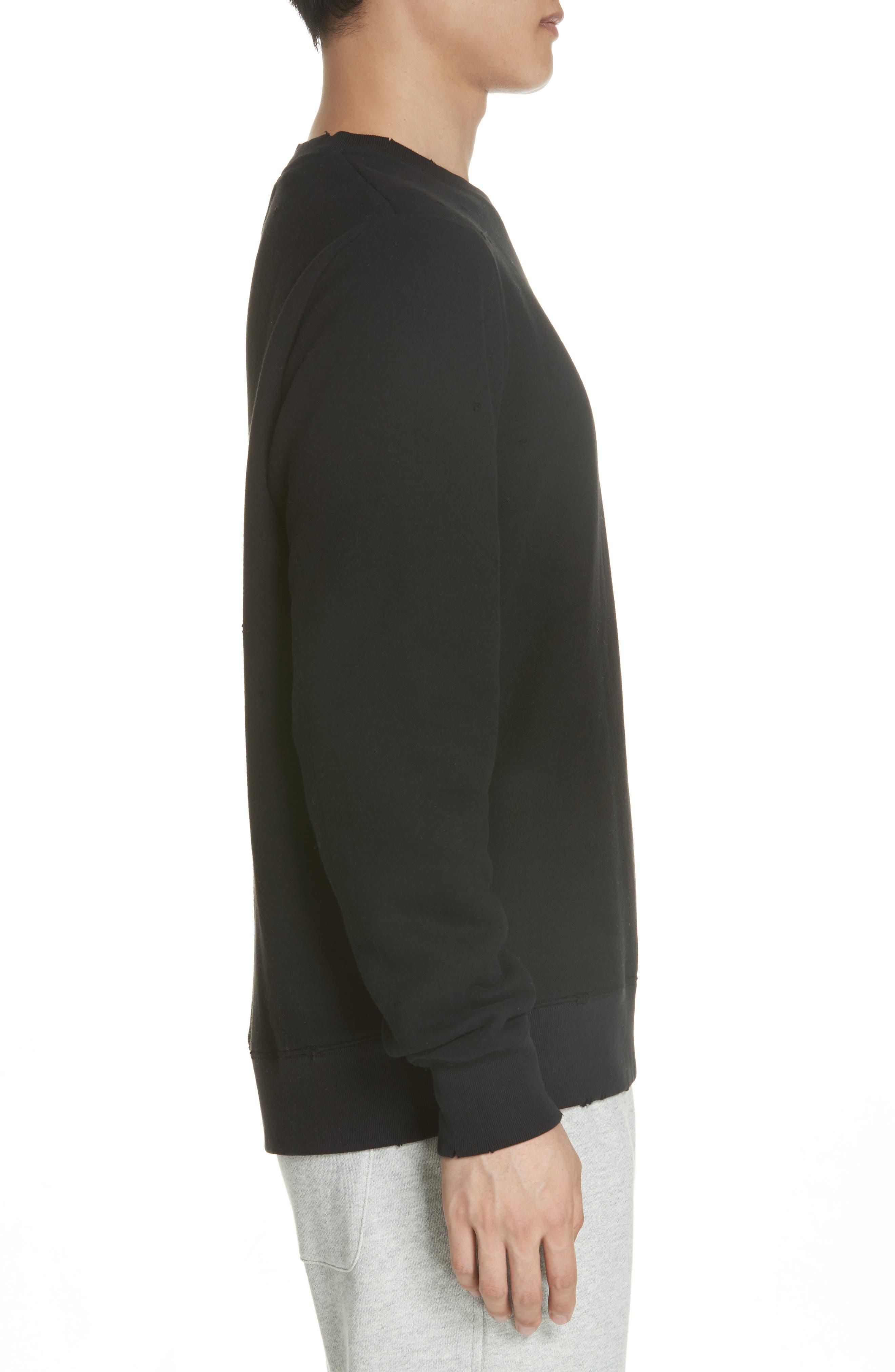 Distressed Crewneck Sweatshirt,                             Alternate thumbnail 3, color,                             BLACK